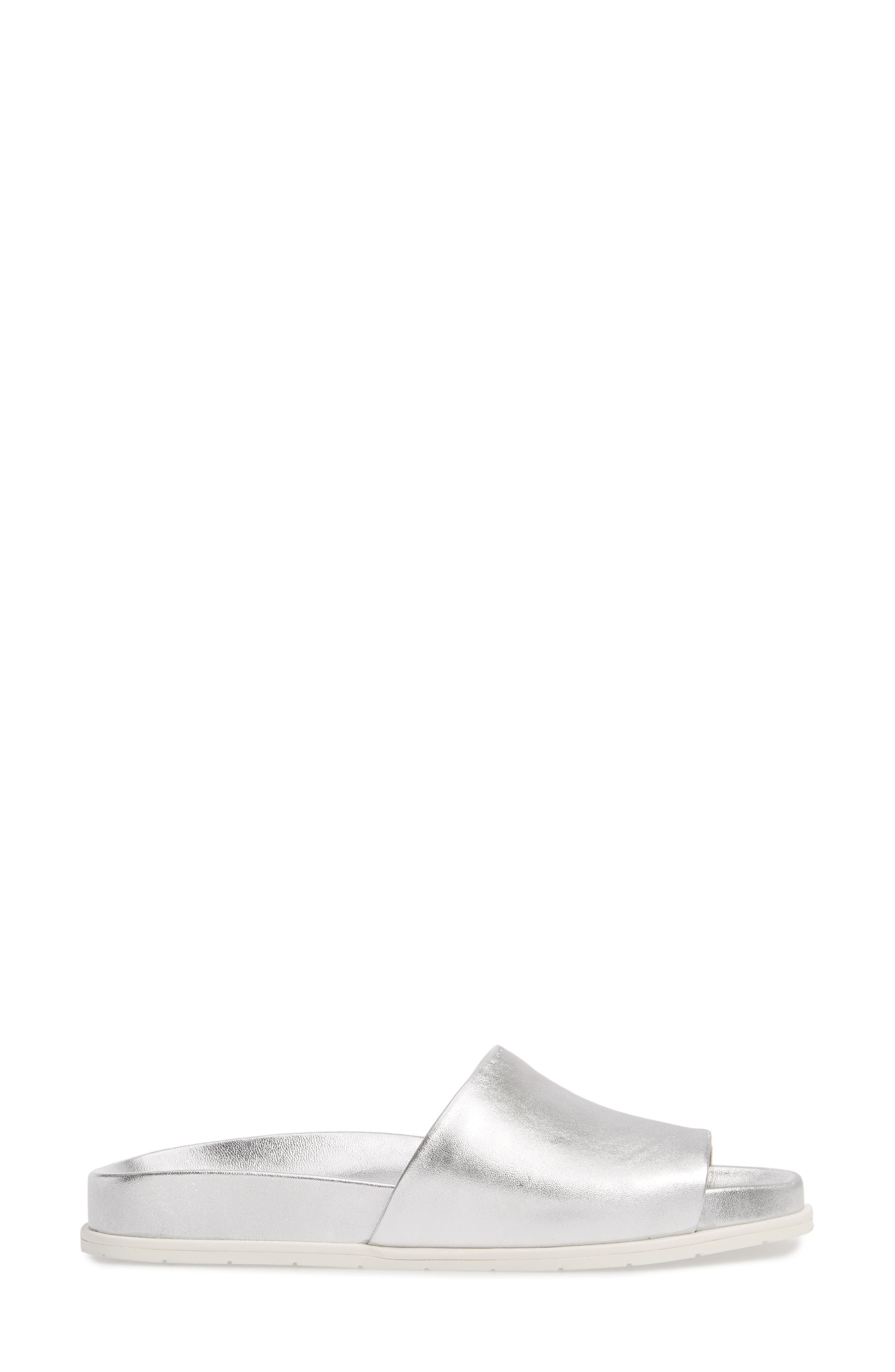 GENTLE SOULS BY KENNETH COLE, Iona Slide Sandal, Alternate thumbnail 3, color, SILVER METALLIC LEATHER