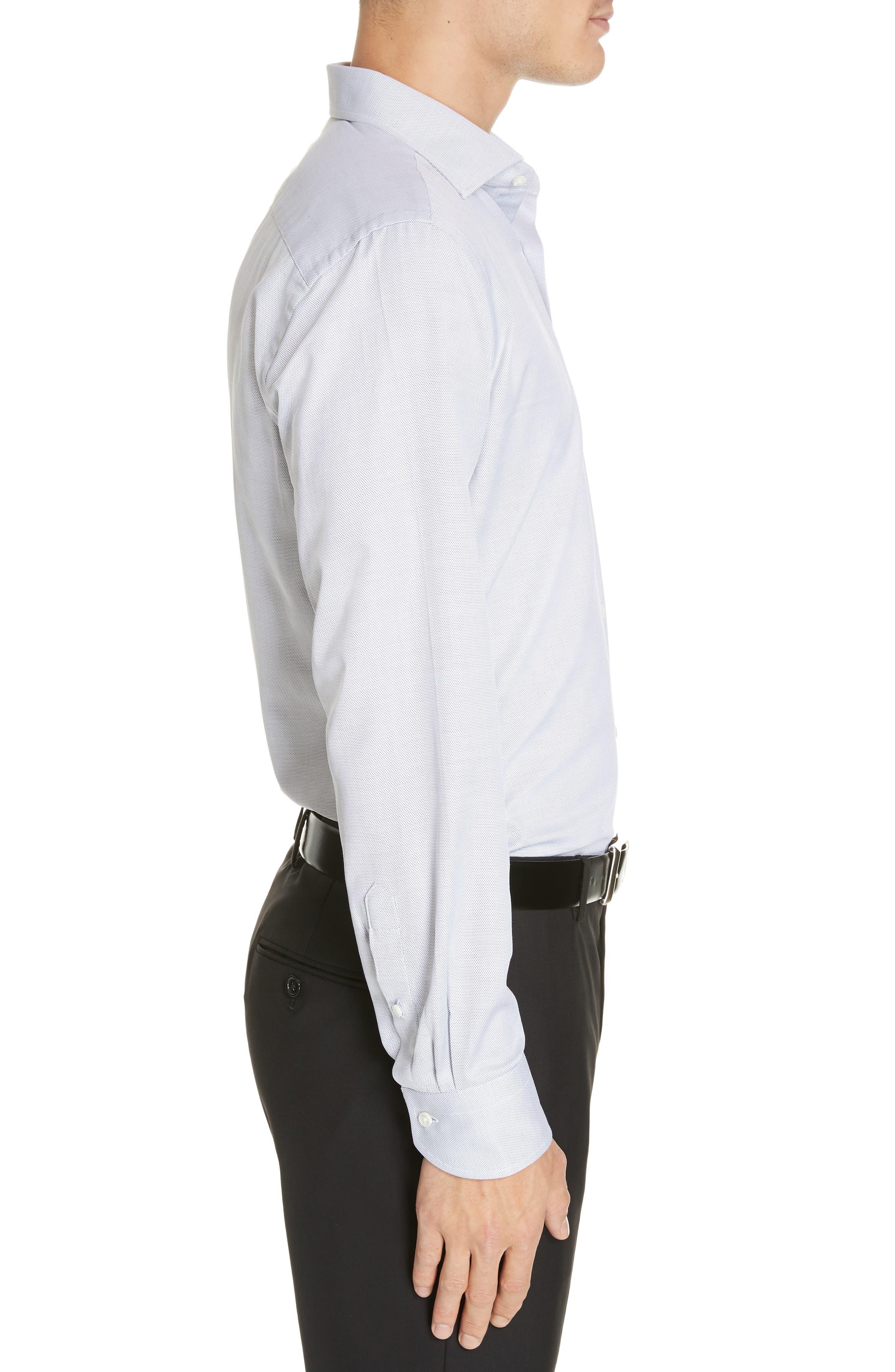 CANALI, Regular Fit Print Dress Shirt, Alternate thumbnail 4, color, GREY