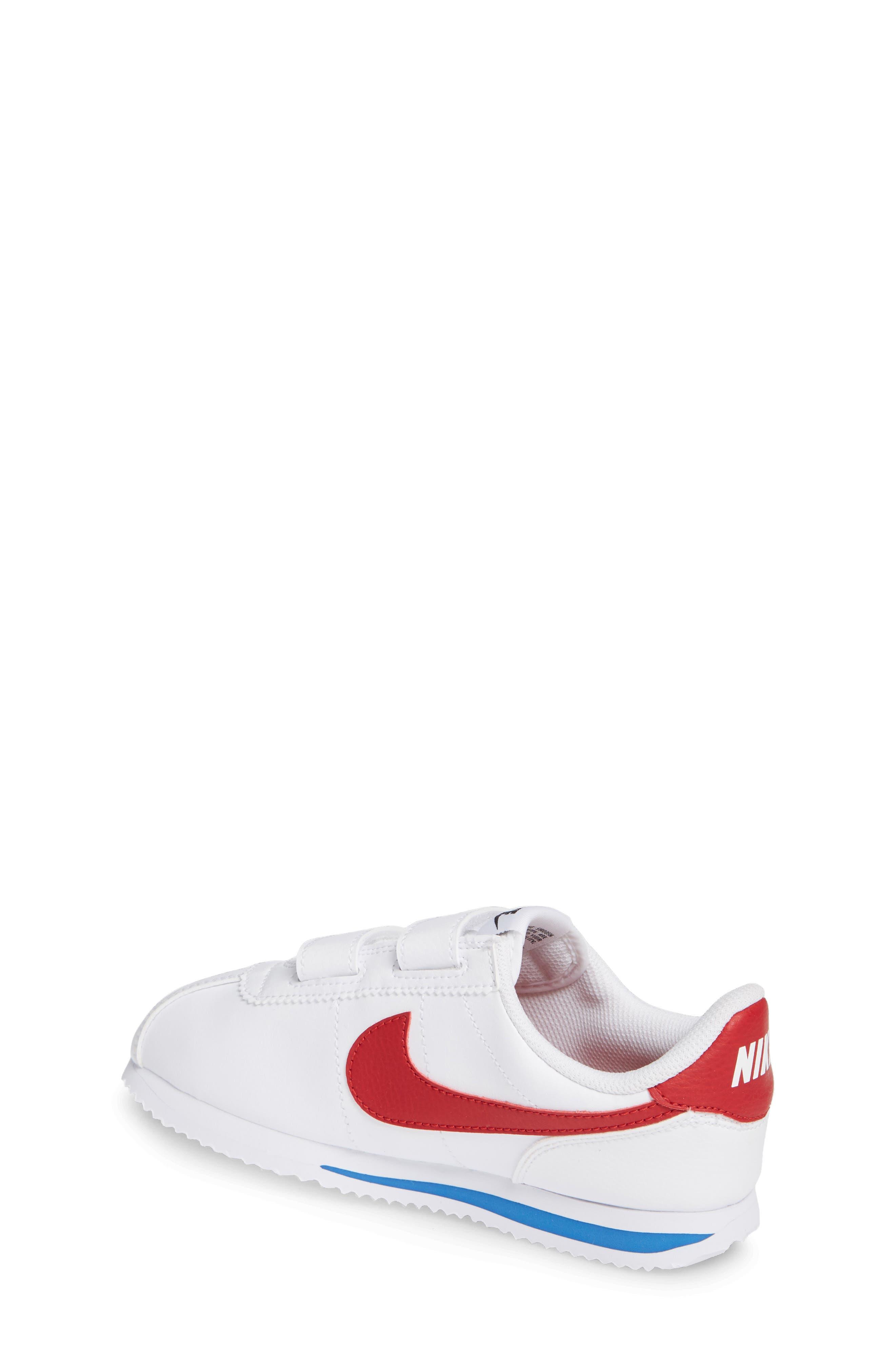 NIKE, Cortez Basic SL Sneaker, Alternate thumbnail 2, color, WHITE/ VARSITY RED/ BLACK