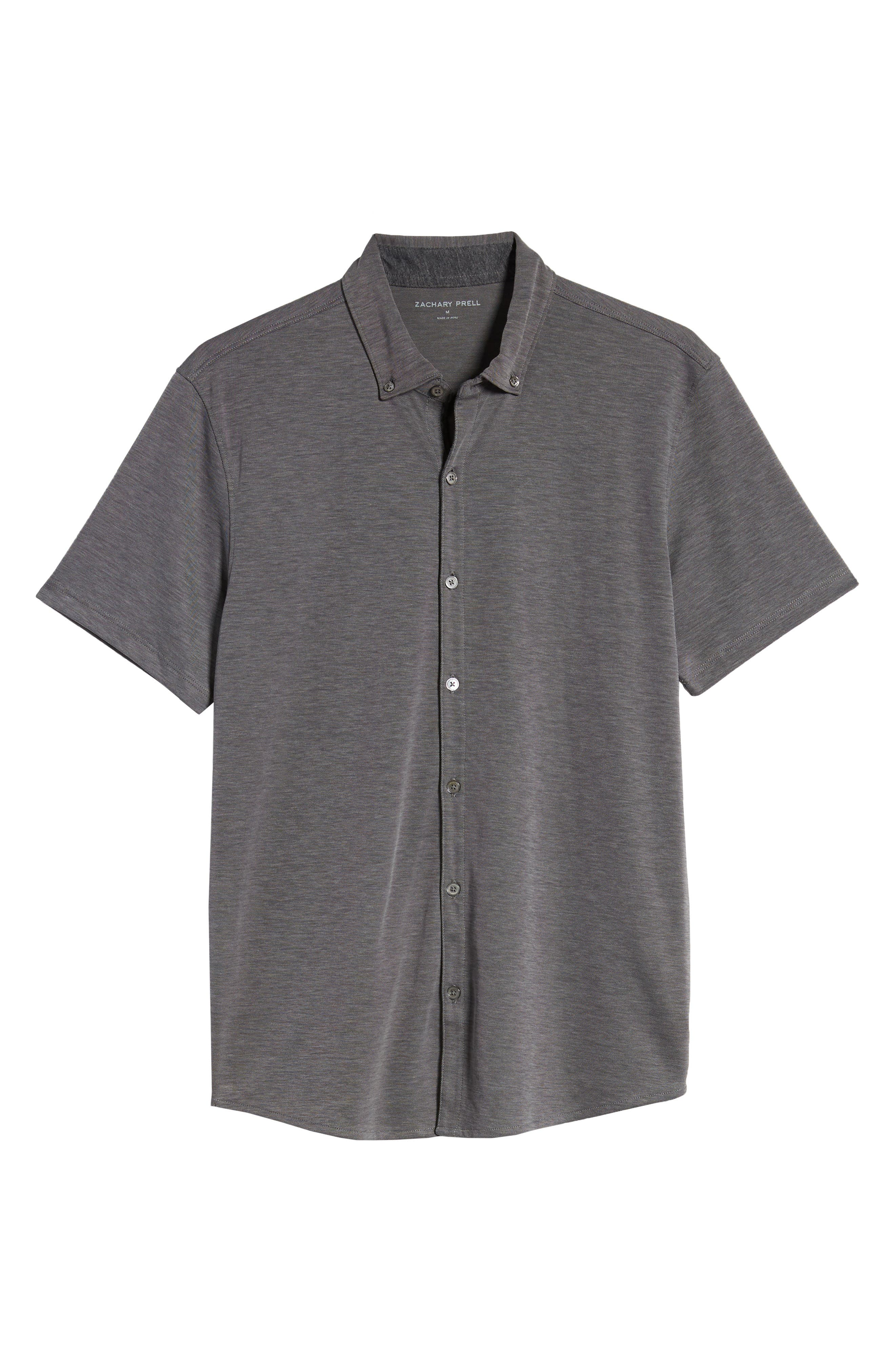ZACHARY PRELL, Caruth Regular Fit Short Sleeve Sport Shirt, Alternate thumbnail 6, color, CHARCOAL