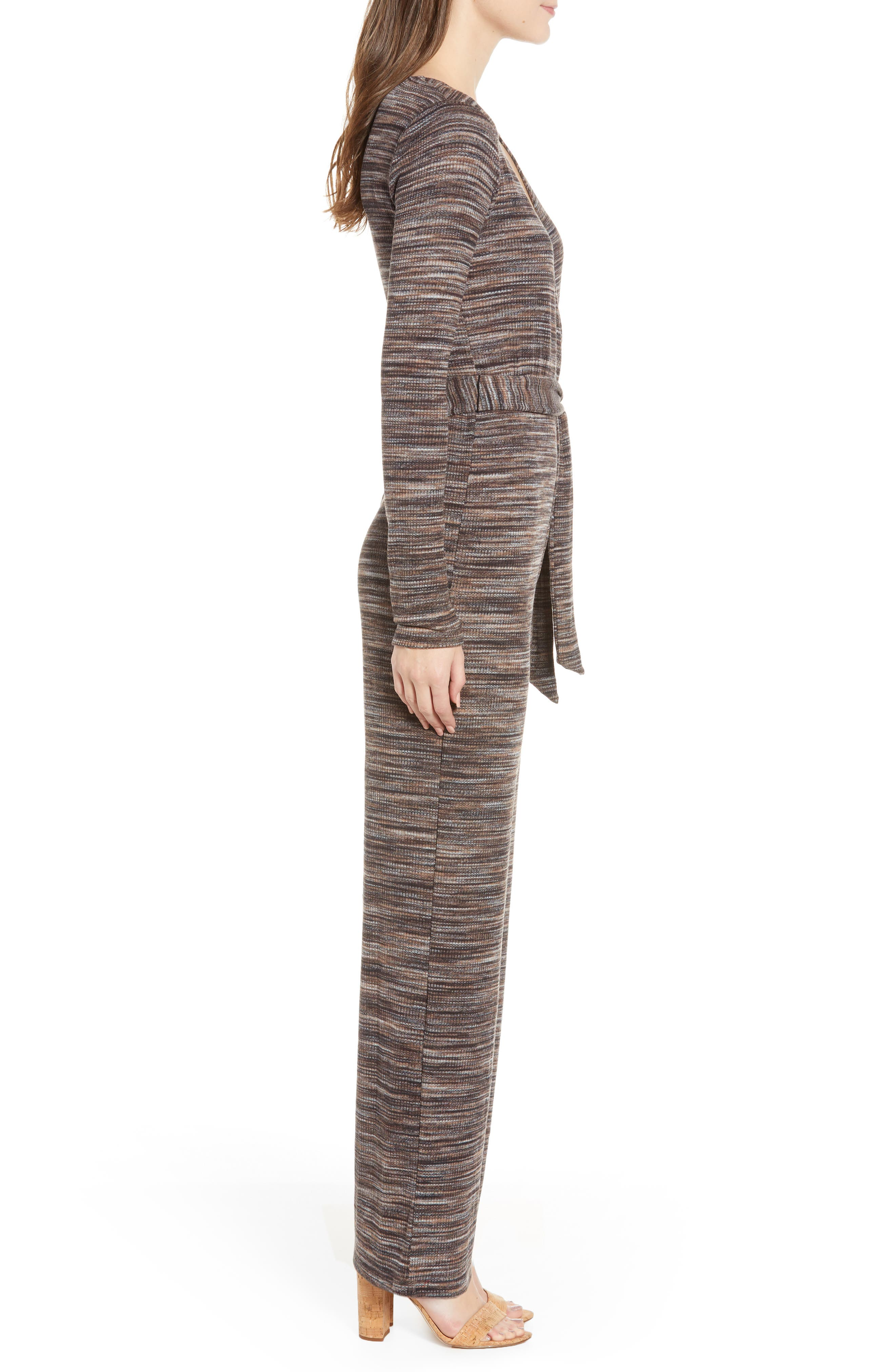 LOVE, FIRE, Belted Stripe Jumpsuit, Alternate thumbnail 4, color, 250