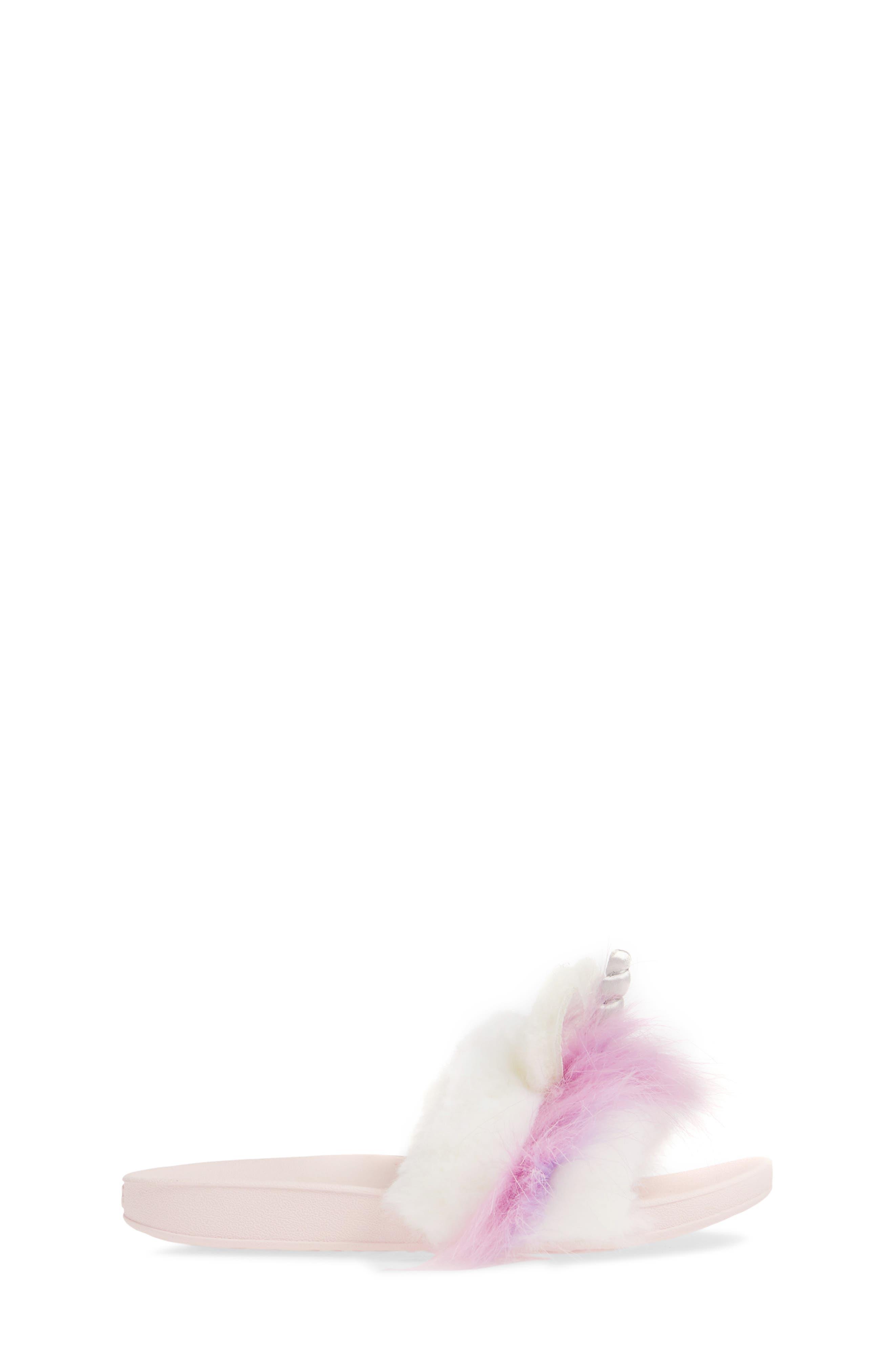 UGG<SUP>®</SUP>, Rainbow Unicorn Faux Fur & Genuine Calf Hair Slide Sandal, Alternate thumbnail 3, color, MULTI