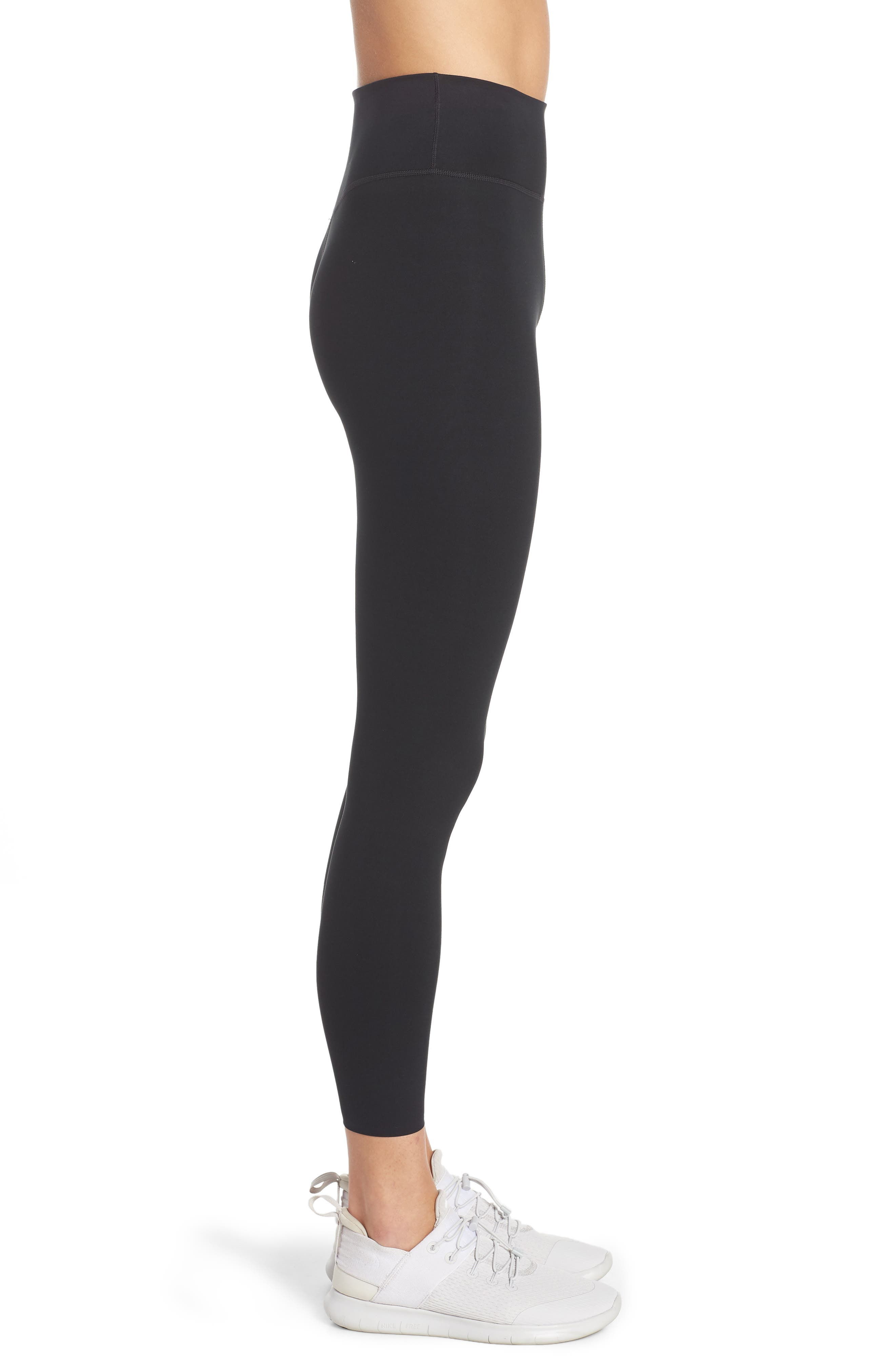 NIKE, One Lux Ankle Tights, Alternate thumbnail 4, color, BLACK/ CLEAR