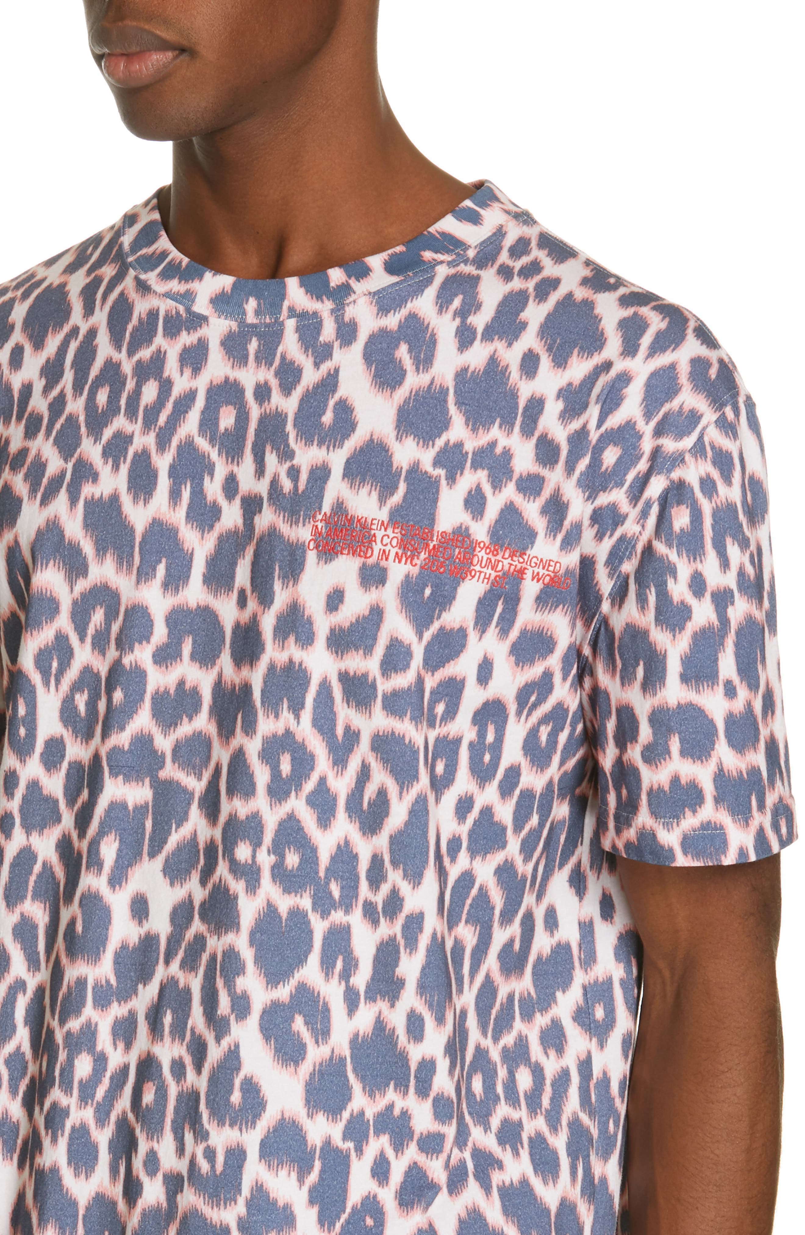 CALVIN KLEIN 205W39NYC, Electric Panther Print T-Shirt, Alternate thumbnail 4, color, ELECTRIC PANTHERE