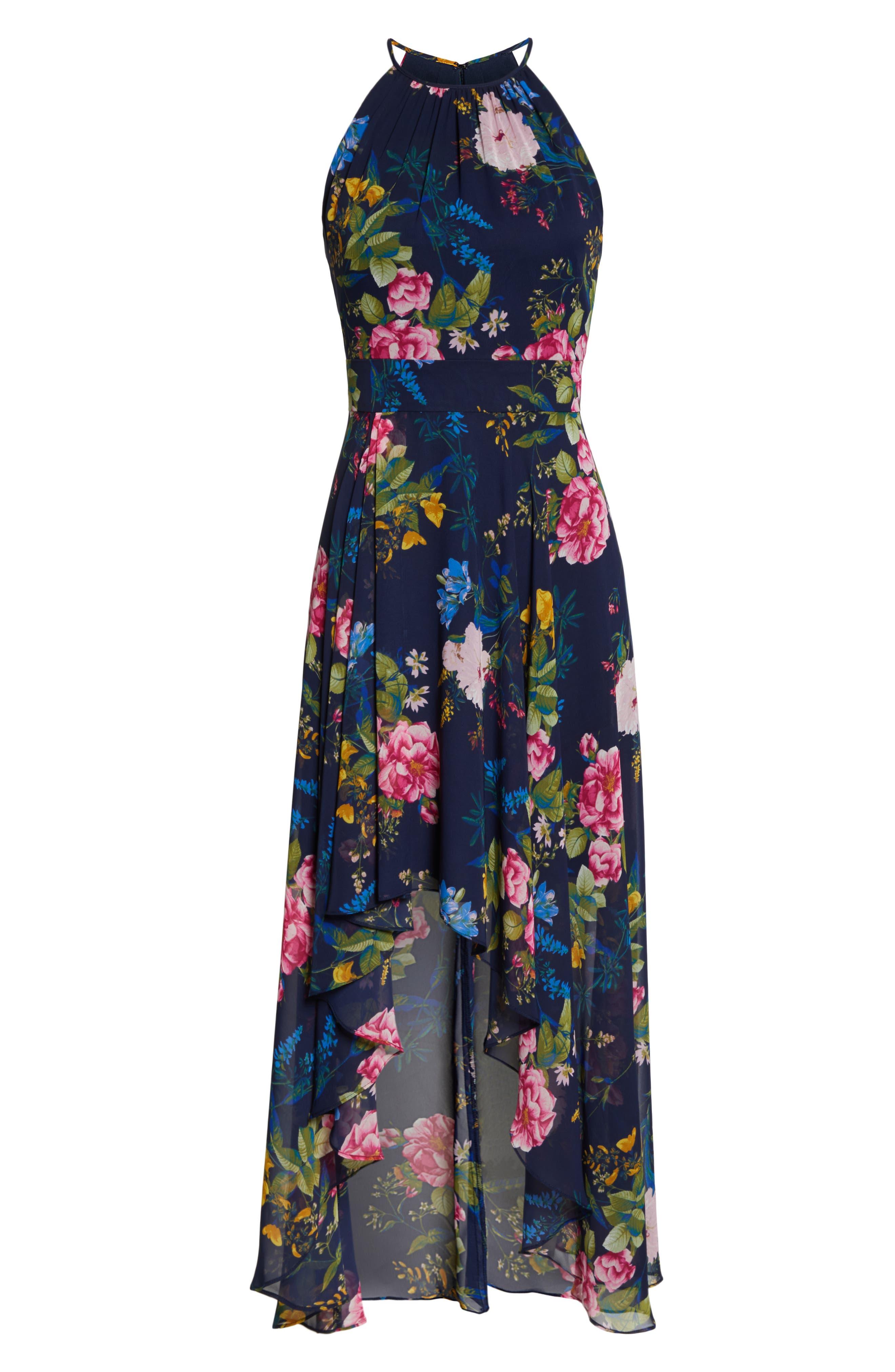 ELIZA J, Floral Print Chiffon Halter Dress, Alternate thumbnail 7, color, NAVY