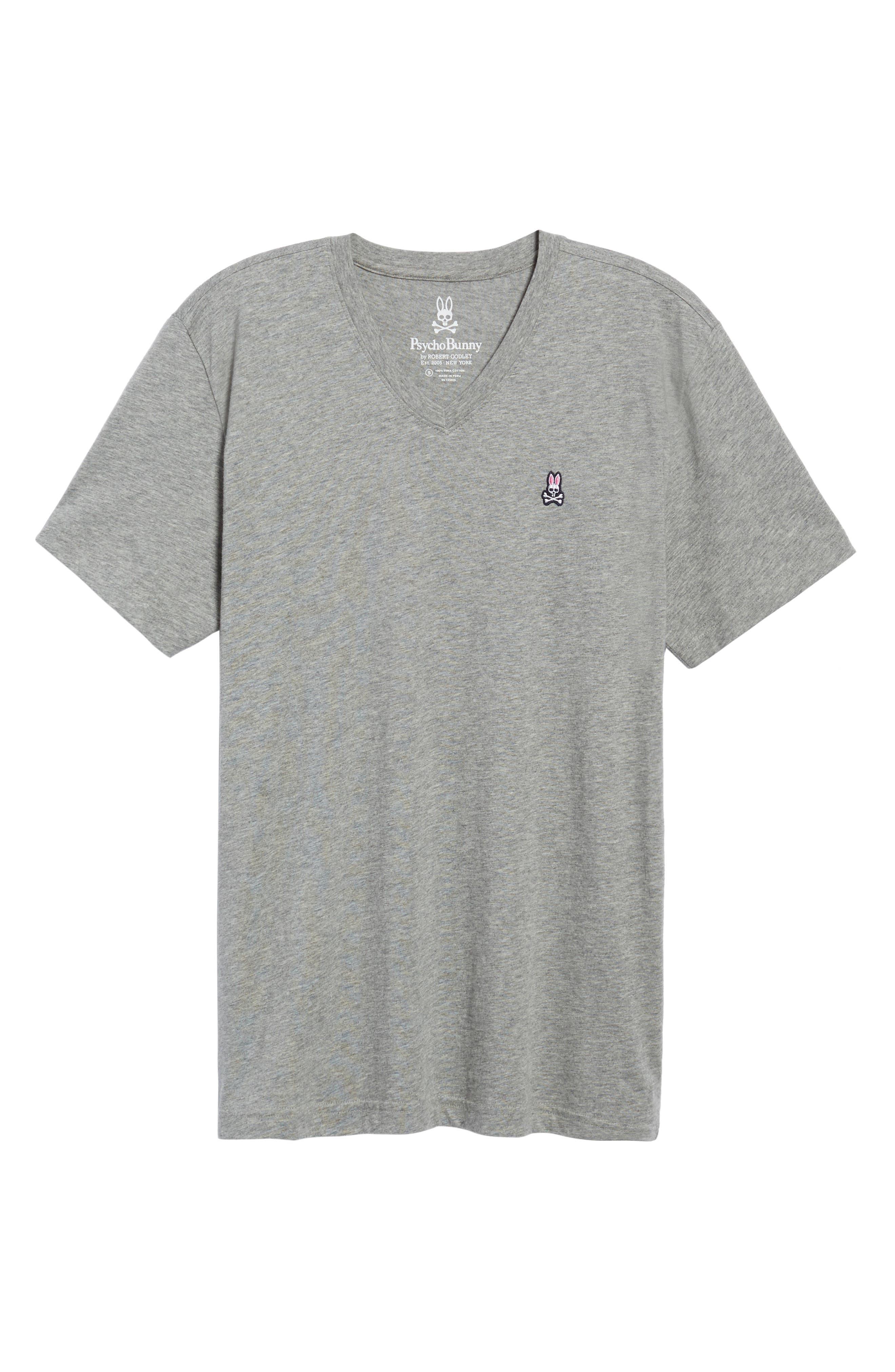 PSYCHO BUNNY, Classic V-Neck T-Shirt, Alternate thumbnail 6, color, HEATHER GREY