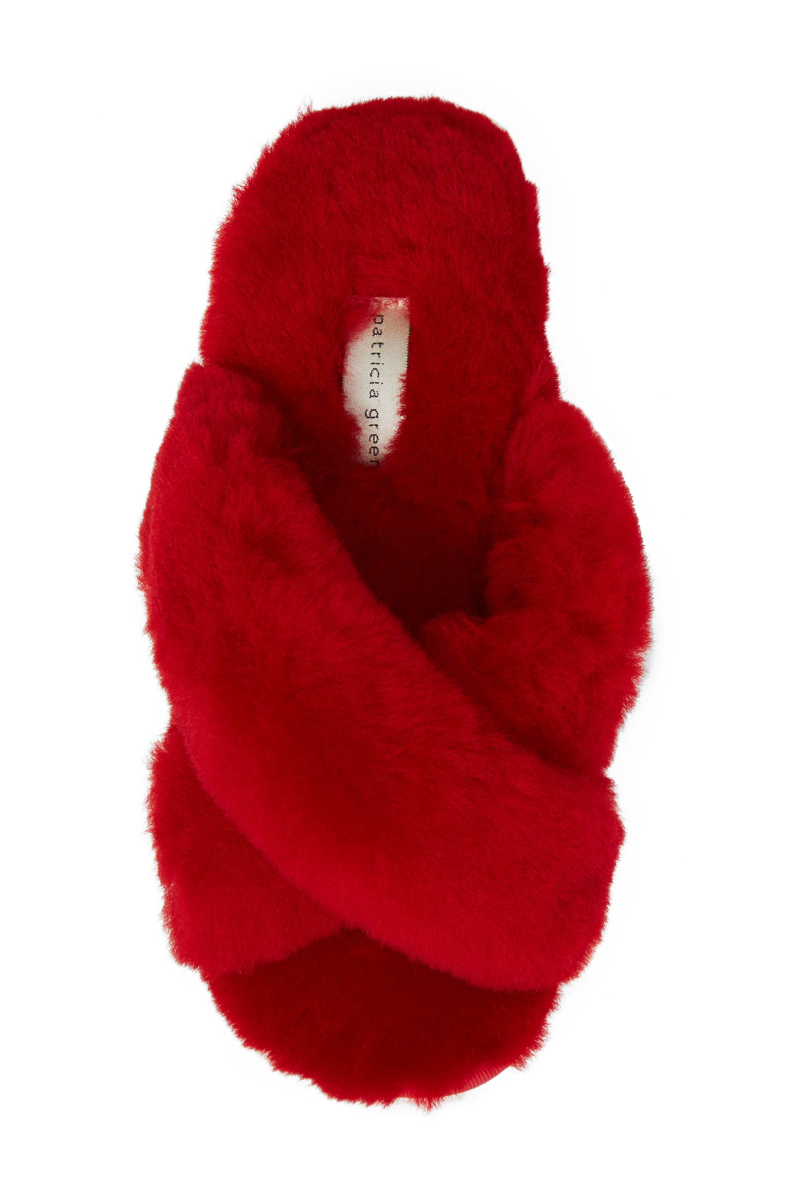 PATRICIA GREEN, Mt. Hood Genuine Shearling Slipper, Alternate thumbnail 5, color, RED