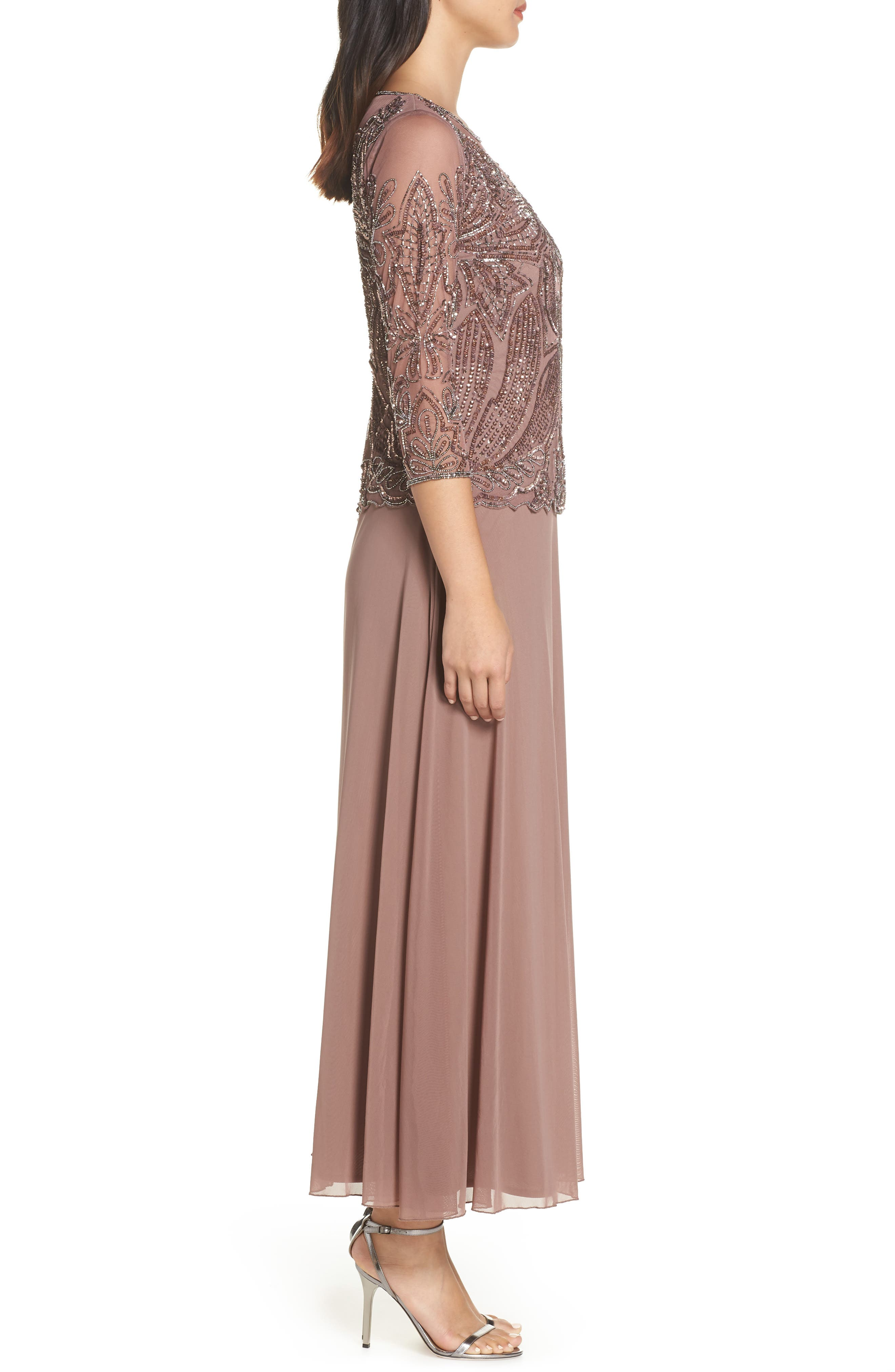 PISARRO NIGHTS, Embellished Mesh Gown, Alternate thumbnail 4, color, MAUVE