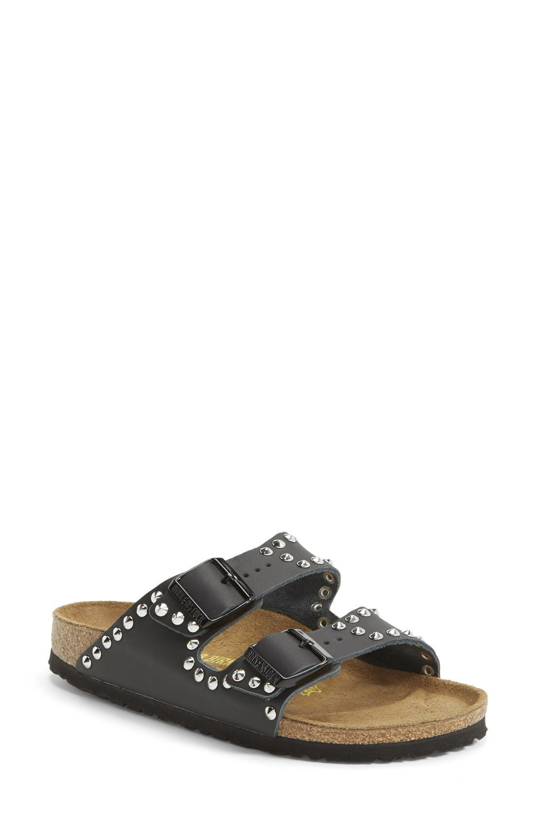 BIRKENSTOCK, 'Arizona' Studded Leather Sandal, Main thumbnail 1, color, 001