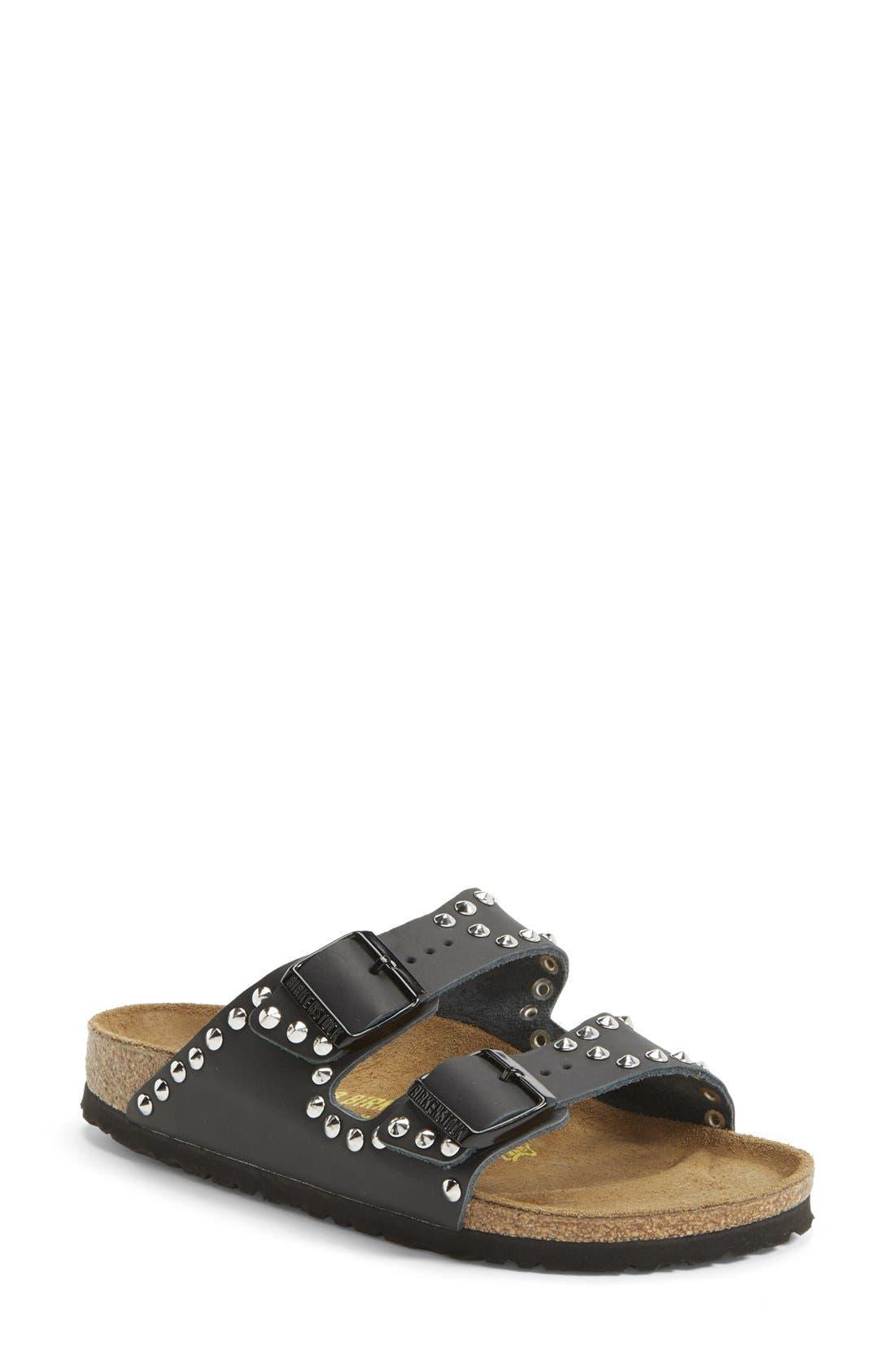 BIRKENSTOCK 'Arizona' Studded Leather Sandal, Main, color, 001