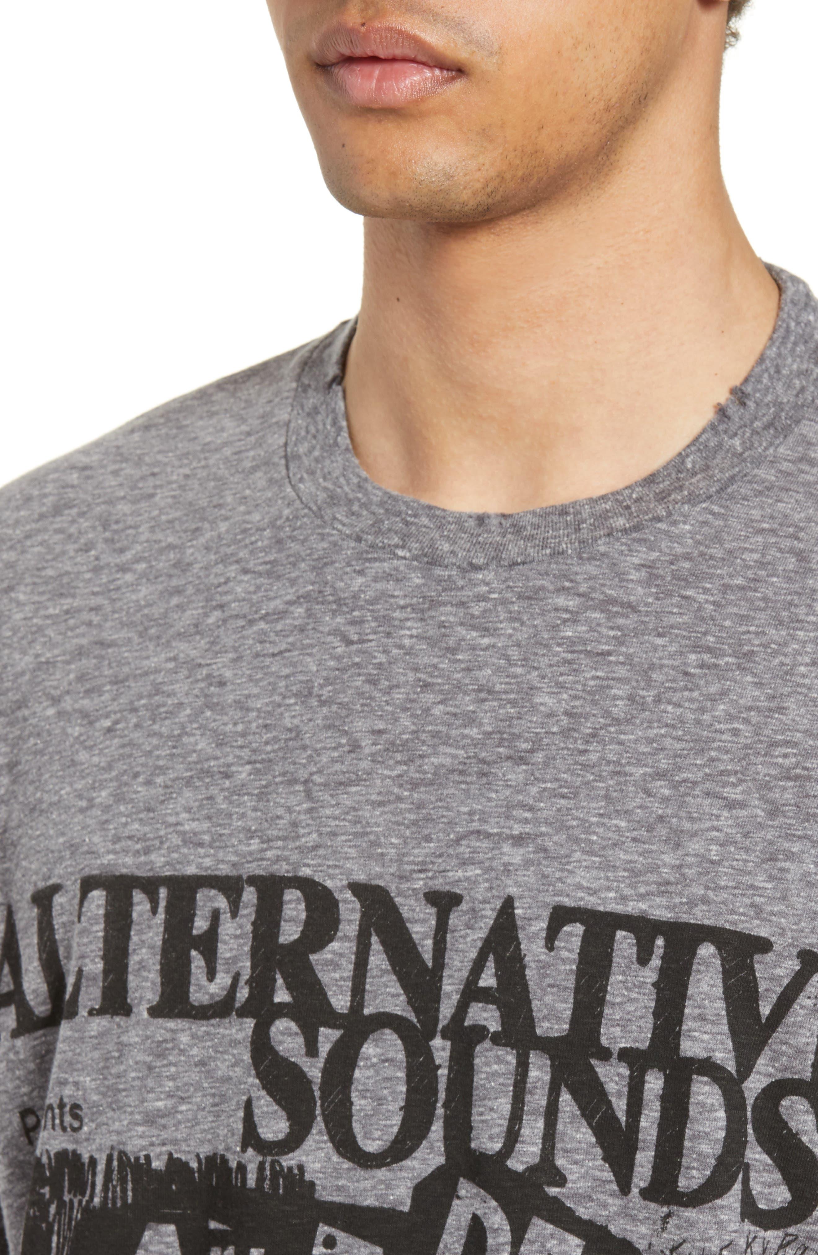 THE KOOPLES, Alternative Sounds Graphic T-Shirt, Alternate thumbnail 4, color, GREY