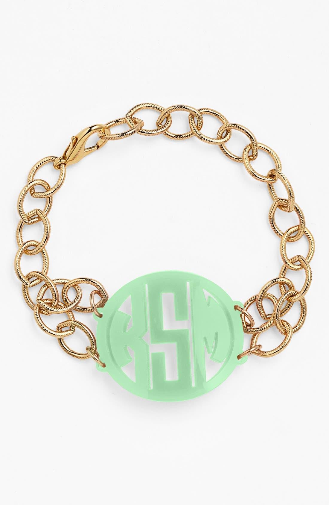 MOON AND LOLA, 'Annabel' Medium Personalized Monogram Bracelet, Main thumbnail 1, color, MINT/ GOLD