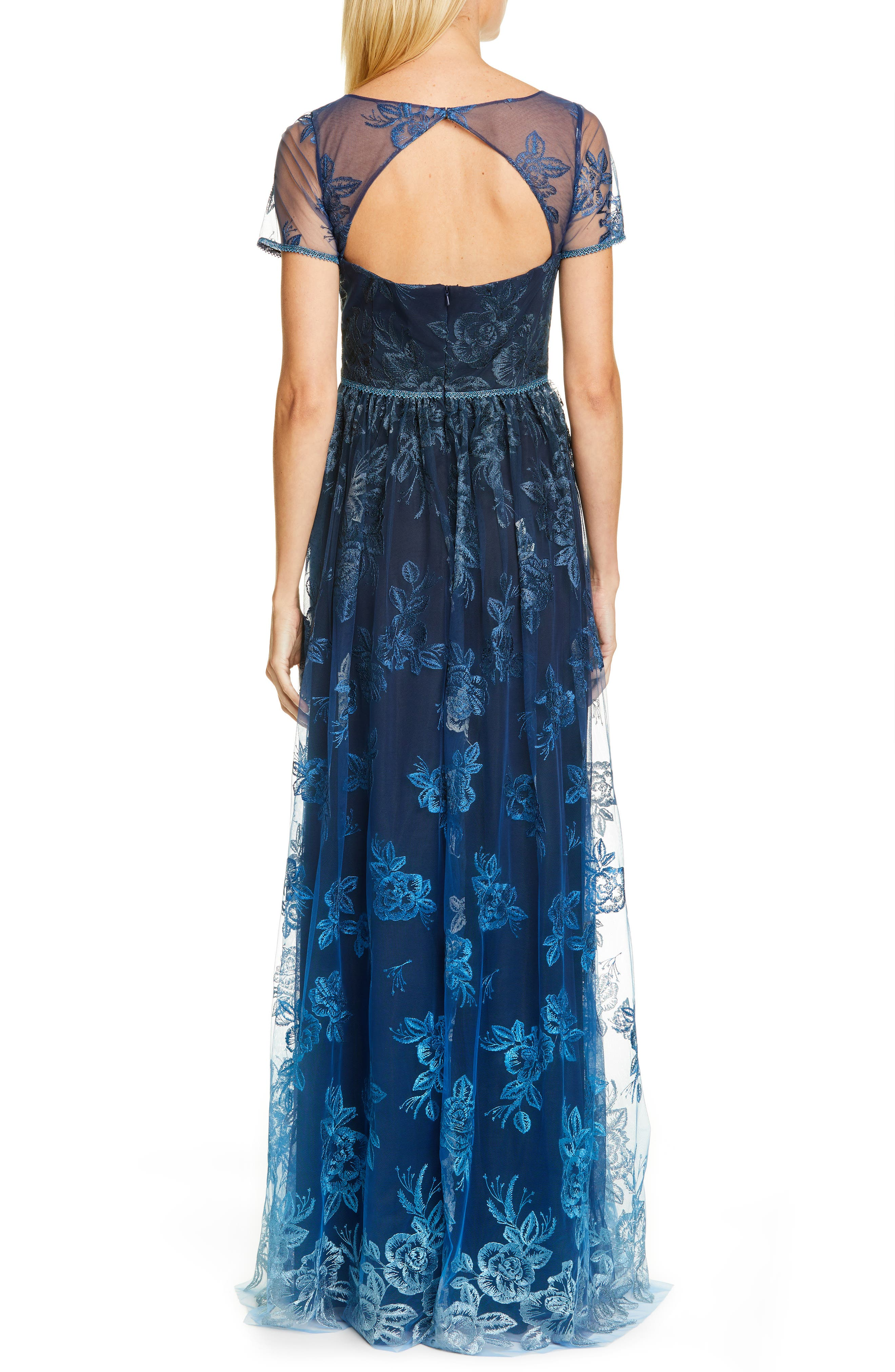 MARCHESA NOTTE, Ombré Embroidered Gown, Alternate thumbnail 2, color, NAVY