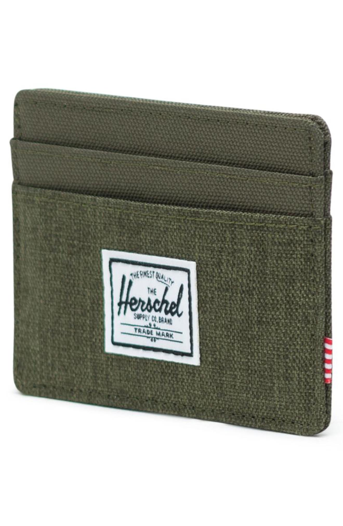 HERSCHEL SUPPLY CO., Charlie Card Case, Alternate thumbnail 3, color, OLIVE NIGHT CROSSHATCH