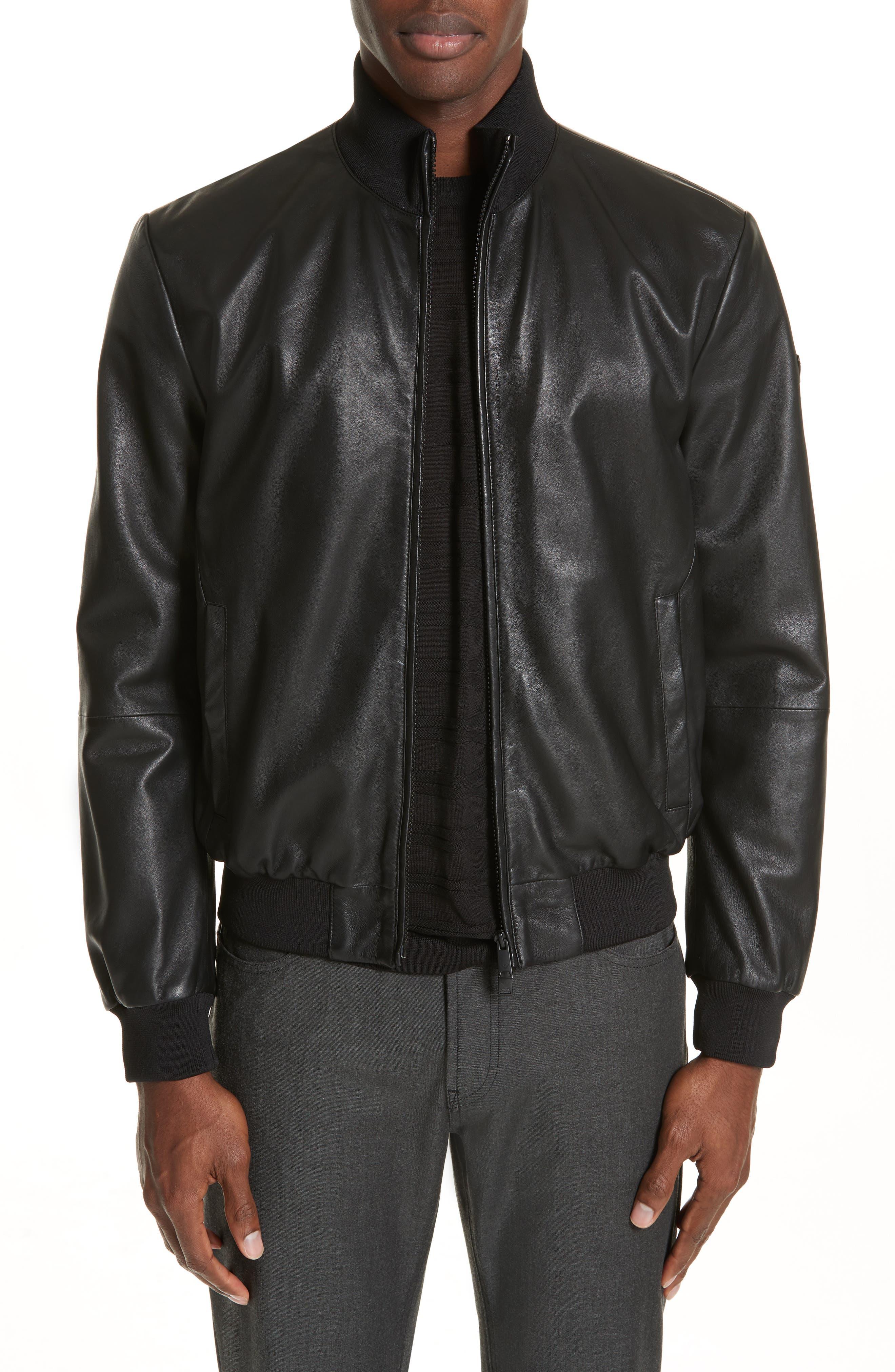 EMPORIO ARMANI, Leather Bomber Jacket, Main thumbnail 1, color, BLACK