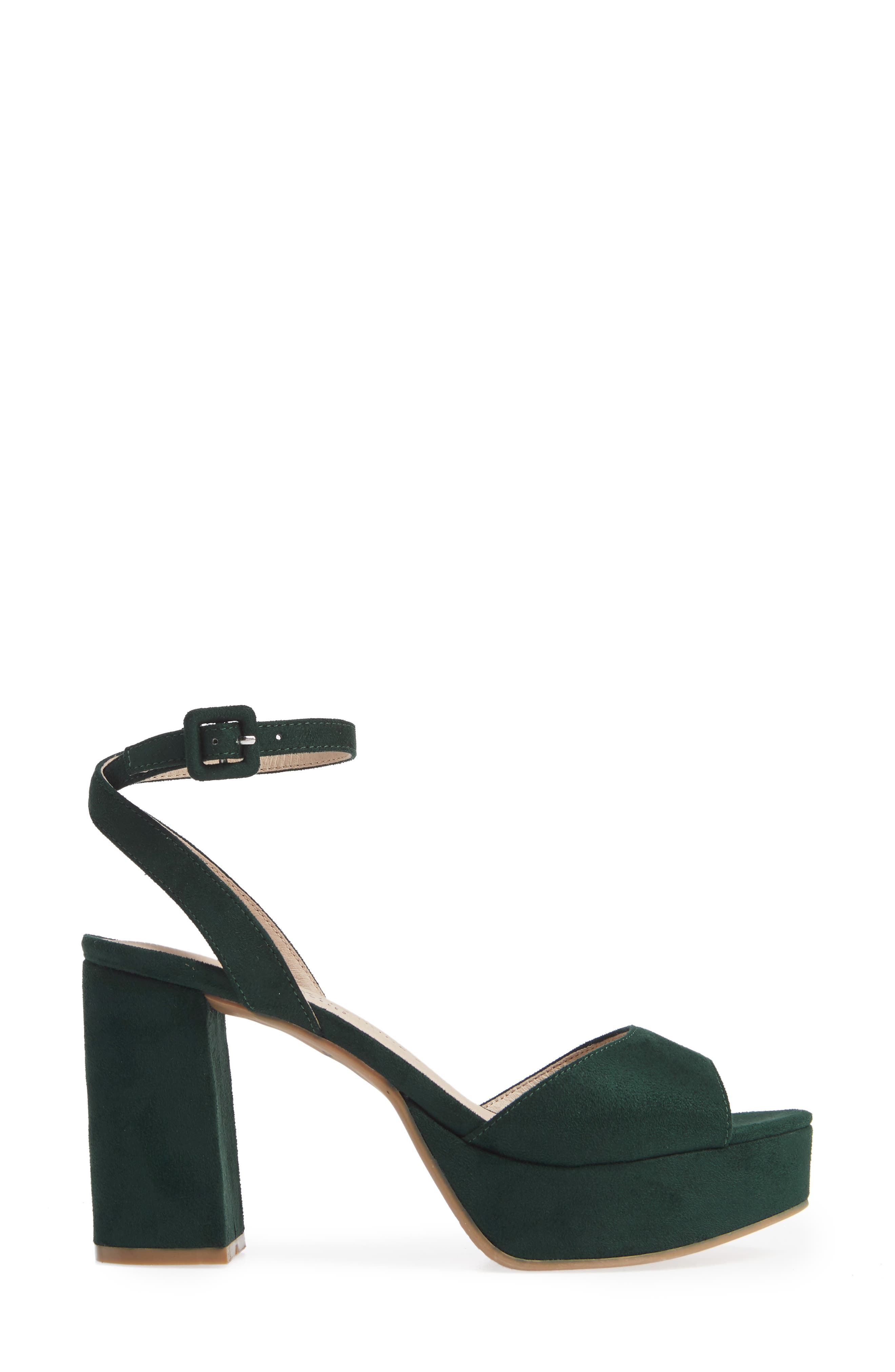 CHINESE LAUNDRY, Theresa Platform Sandal, Alternate thumbnail 3, color, FOREST GREEN SUEDE