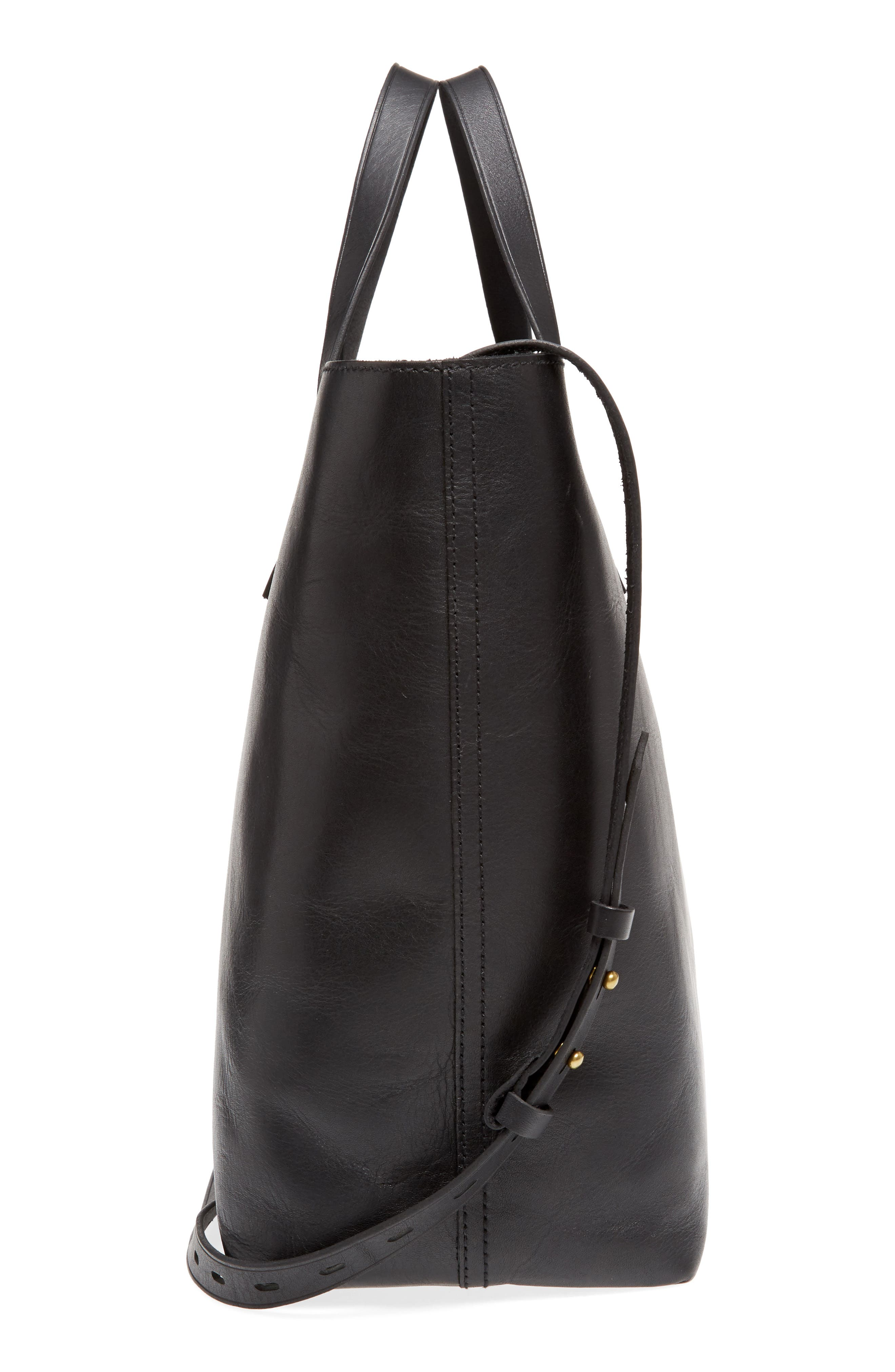 MADEWELL, Zip Top Transport Leather Carryall, Alternate thumbnail 6, color, TRUE BLACK