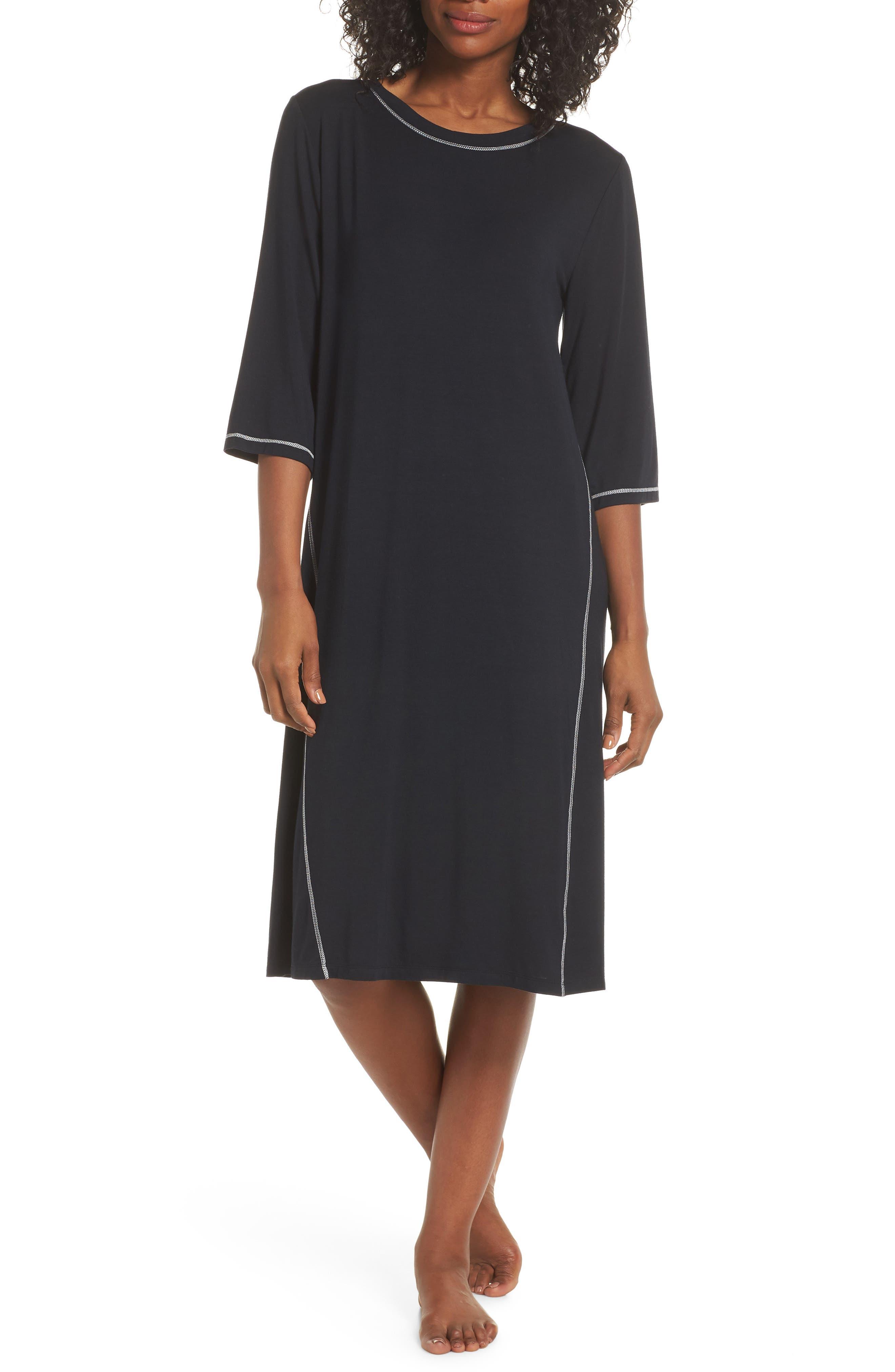 NAKED Luxury Sleep Shirt, Main, color, BLACK