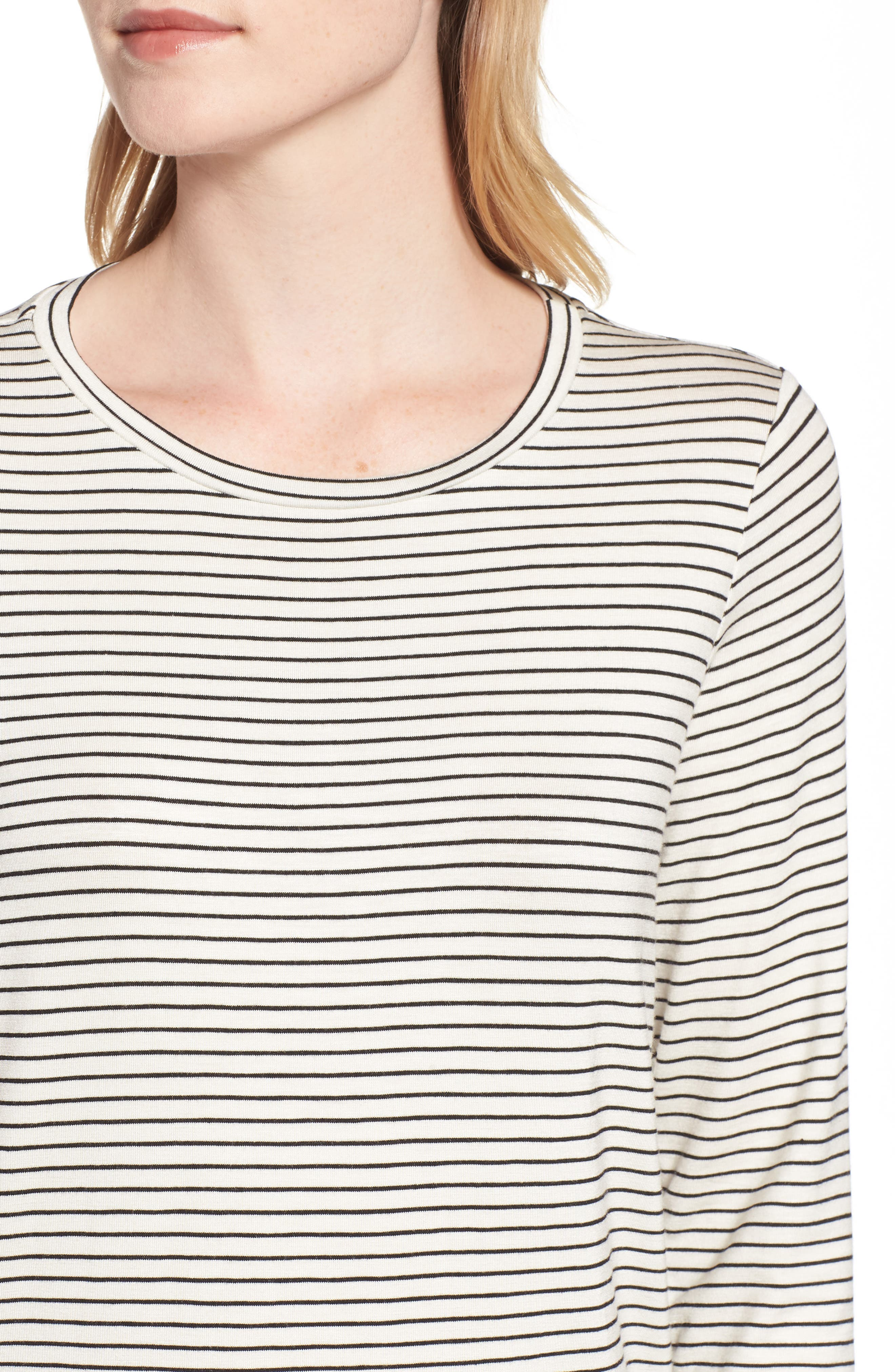 GIBSON, x Living in Yellow Alice Stripe Jersey Top, Alternate thumbnail 4, color, IVORY/ BLACK