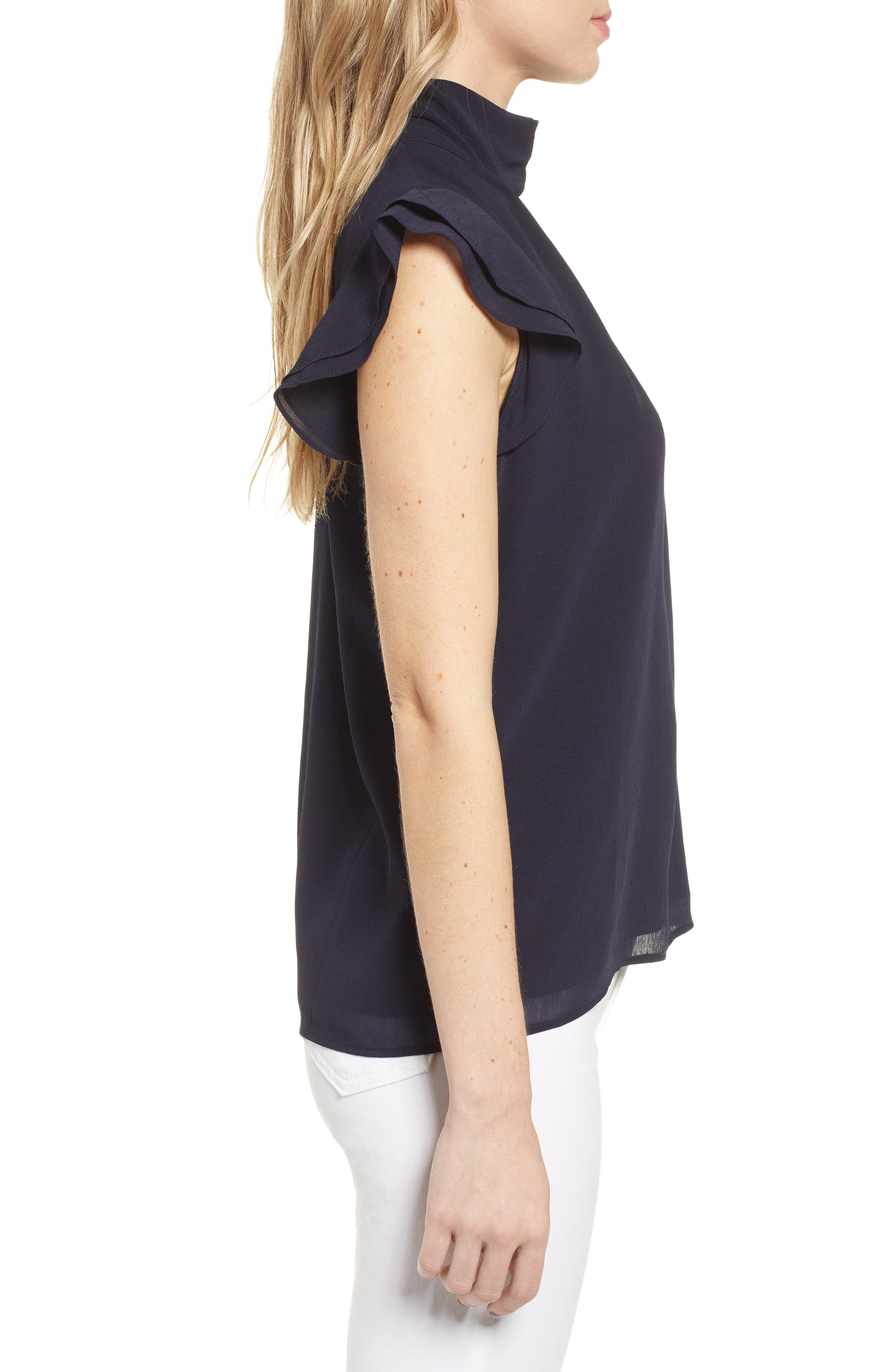 CHELSEA28, Dotted Crinkle Chiffon Top, Alternate thumbnail 3, color, NAVY NIGHT