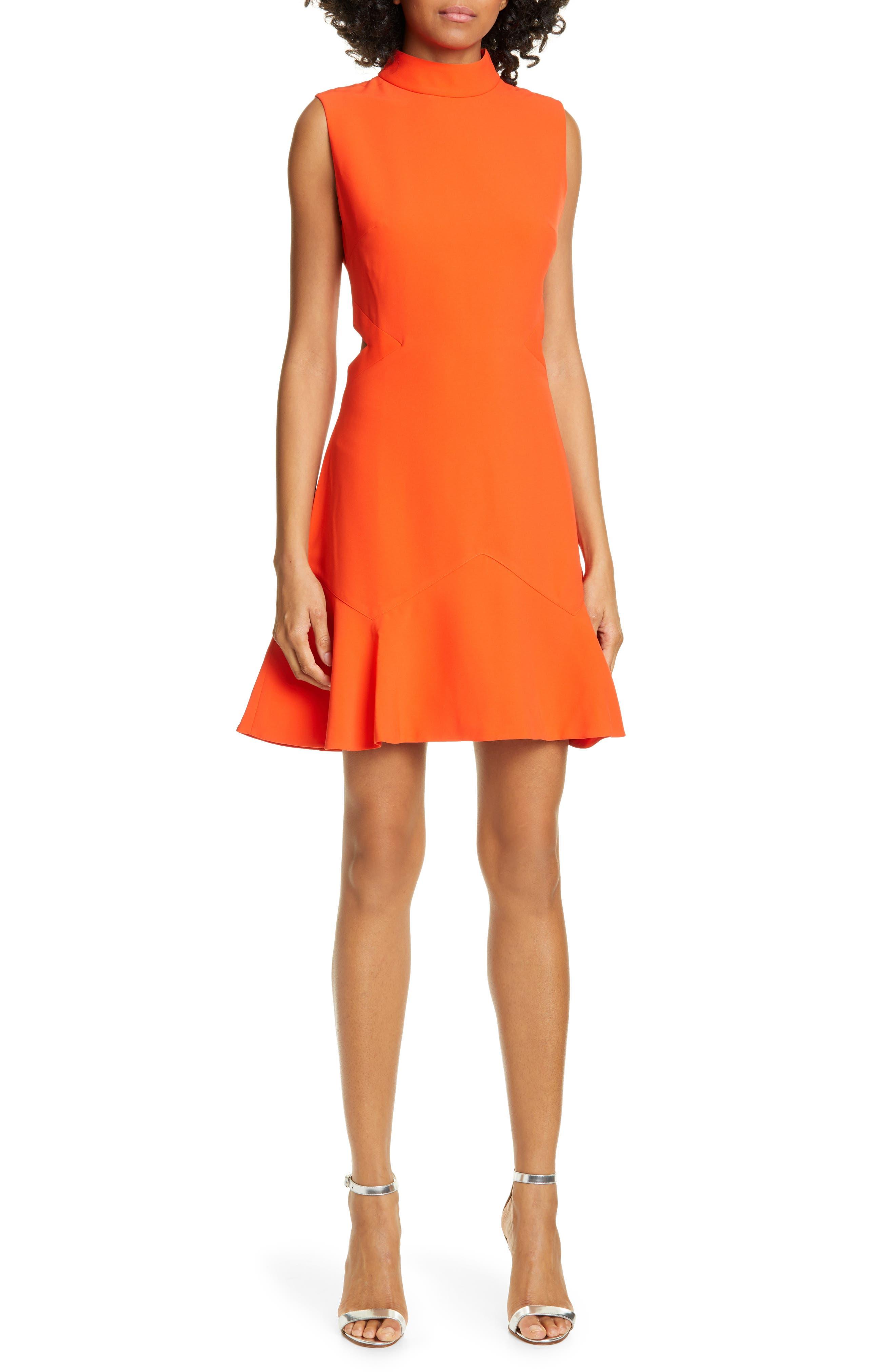 Ted Baker London Cormier Cutout Fluted Hem Dress, Orange