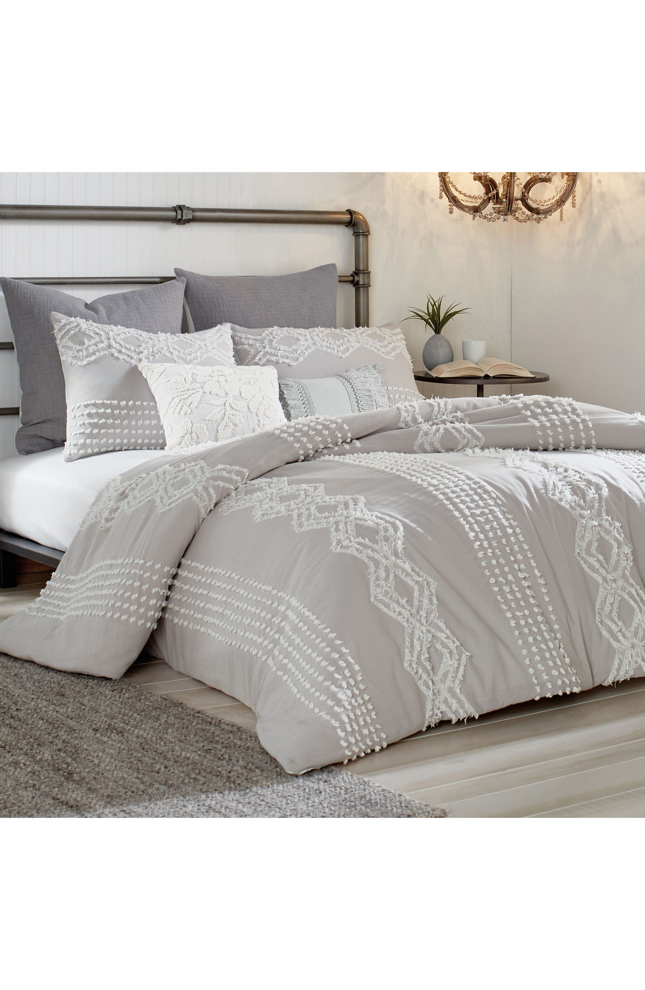 PERI HOME Cut Geo Comforter & Sham Set, Main, color, GREY