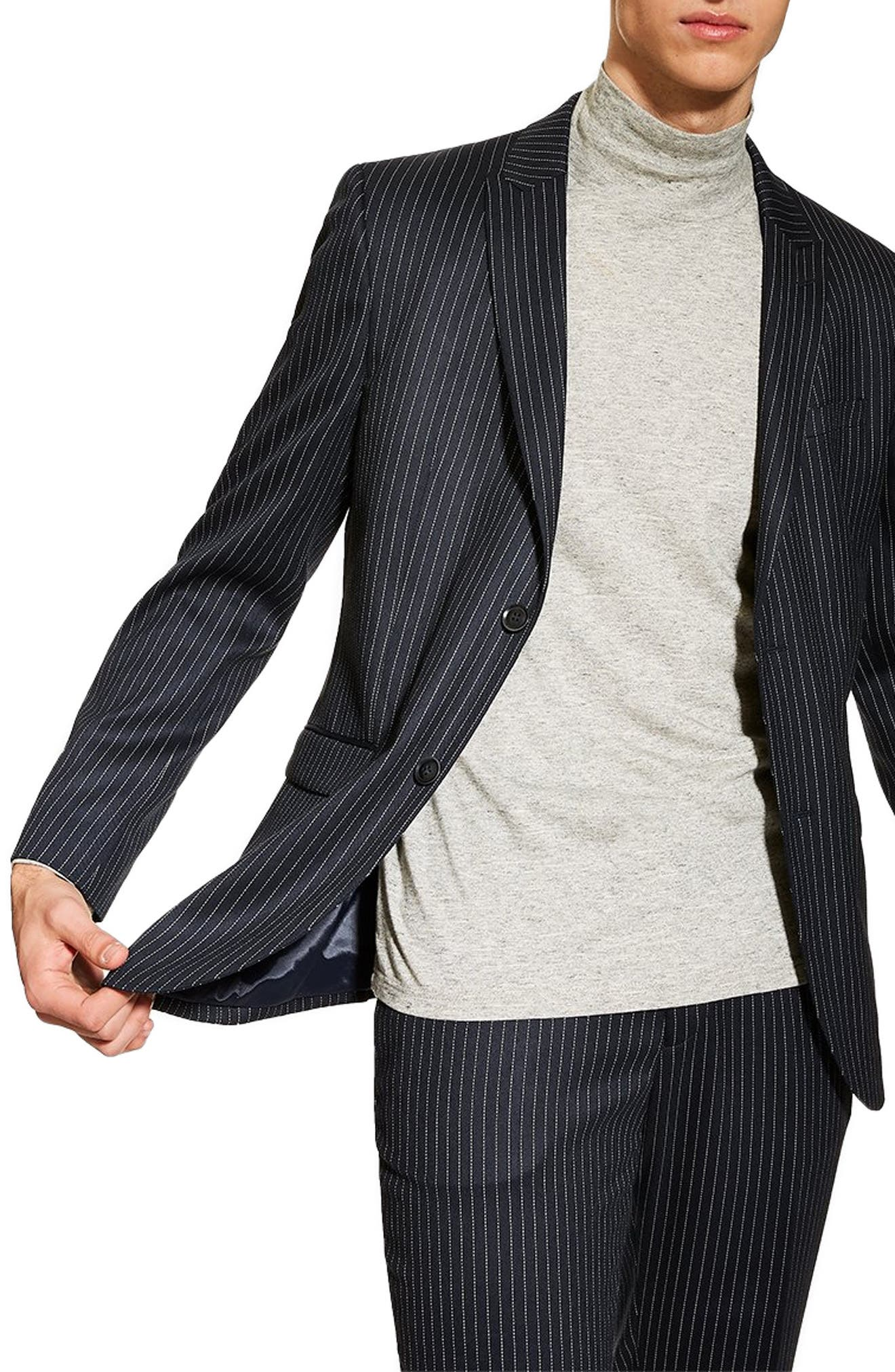 TOPMAN, Tailored Pinstripe Suit Jacket, Main thumbnail 1, color, NAVY BLUE