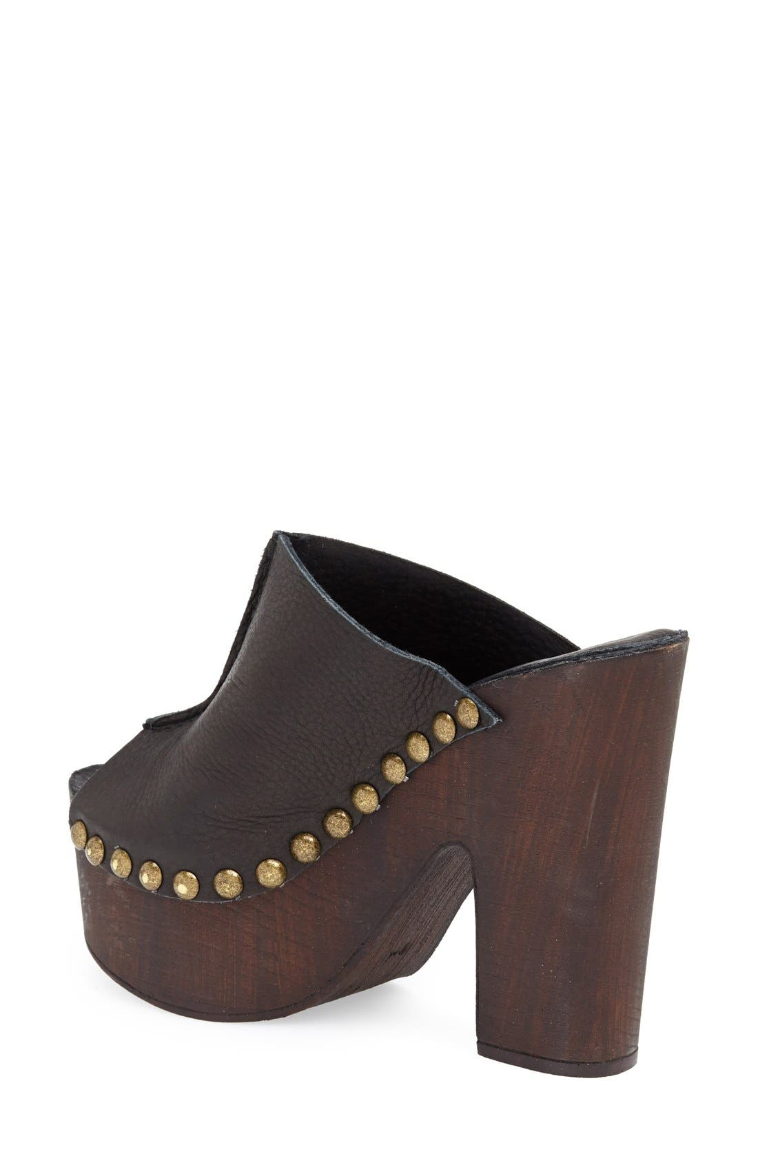 CHARLES DAVID, 'Sacche' Leather Clog, Alternate thumbnail 3, color, 001