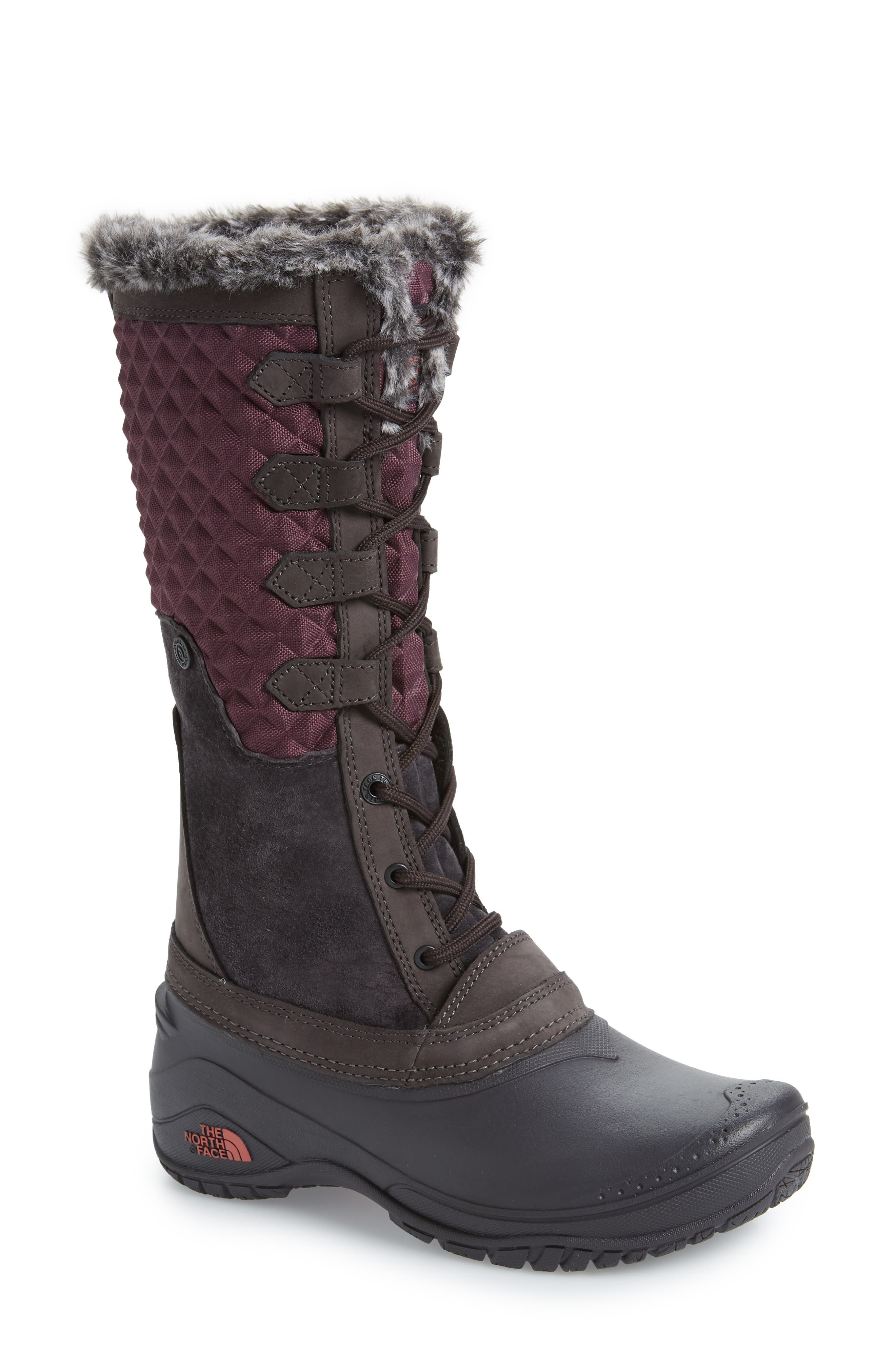 THE NORTH FACE, Shellista III Tall Waterproof Insulated Winter Boot, Main thumbnail 1, color, FIG/ WEATHERED BLACK
