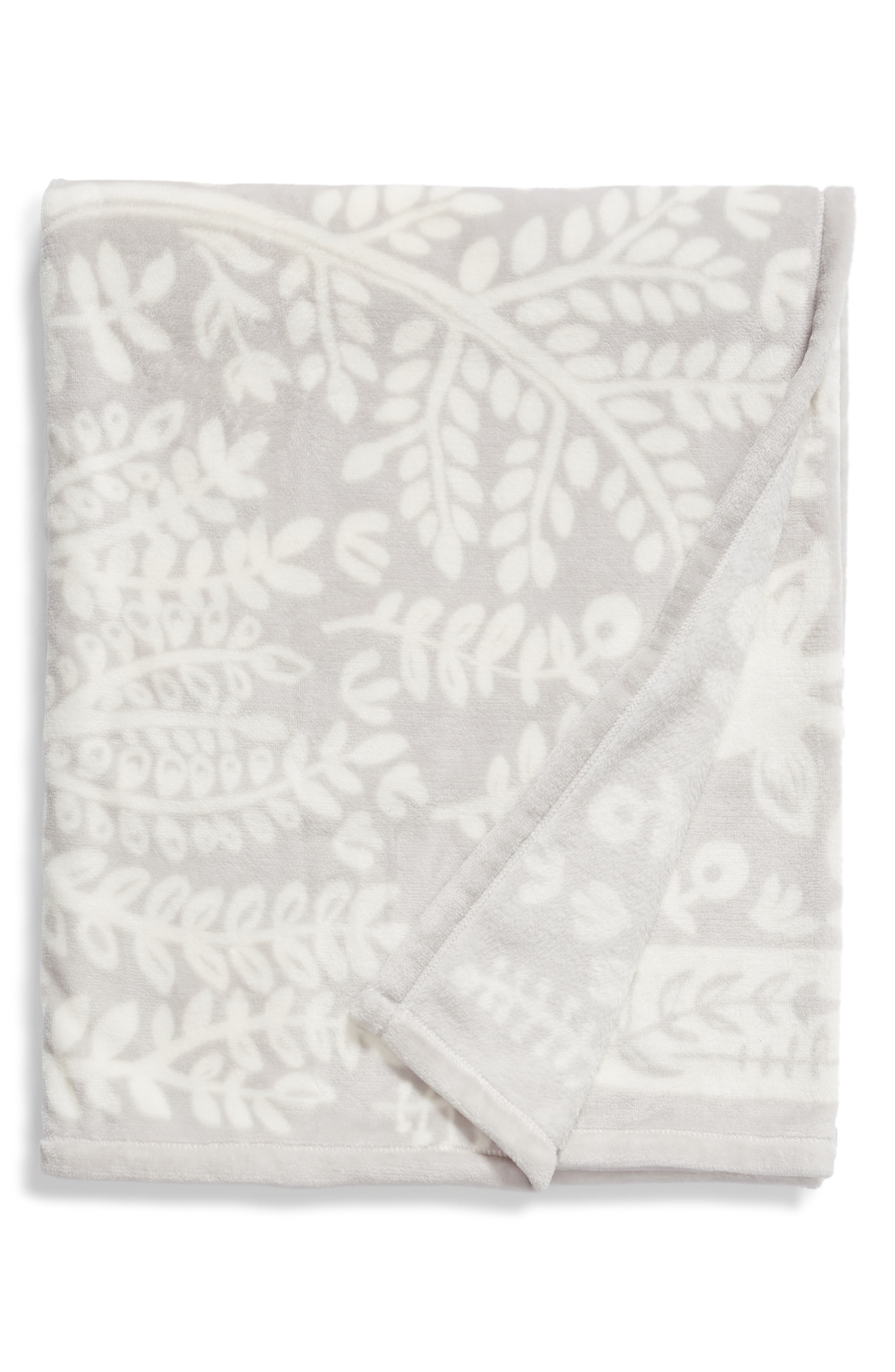 NORDSTROM AT HOME, Winter Woods Plush Throw, Main thumbnail 1, color, 021