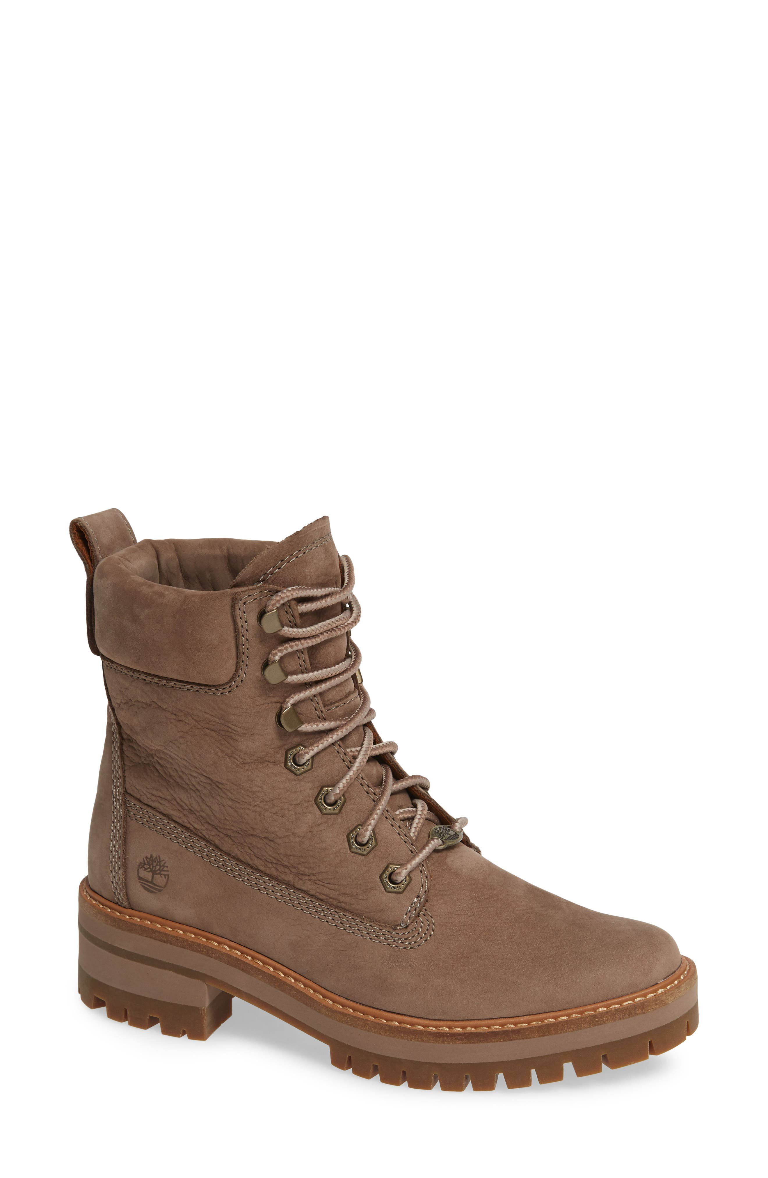 TIMBERLAND, Courmayeur Valley Water Resistant Hiking Boot, Main thumbnail 1, color, TAUPE GREY NUBUCK