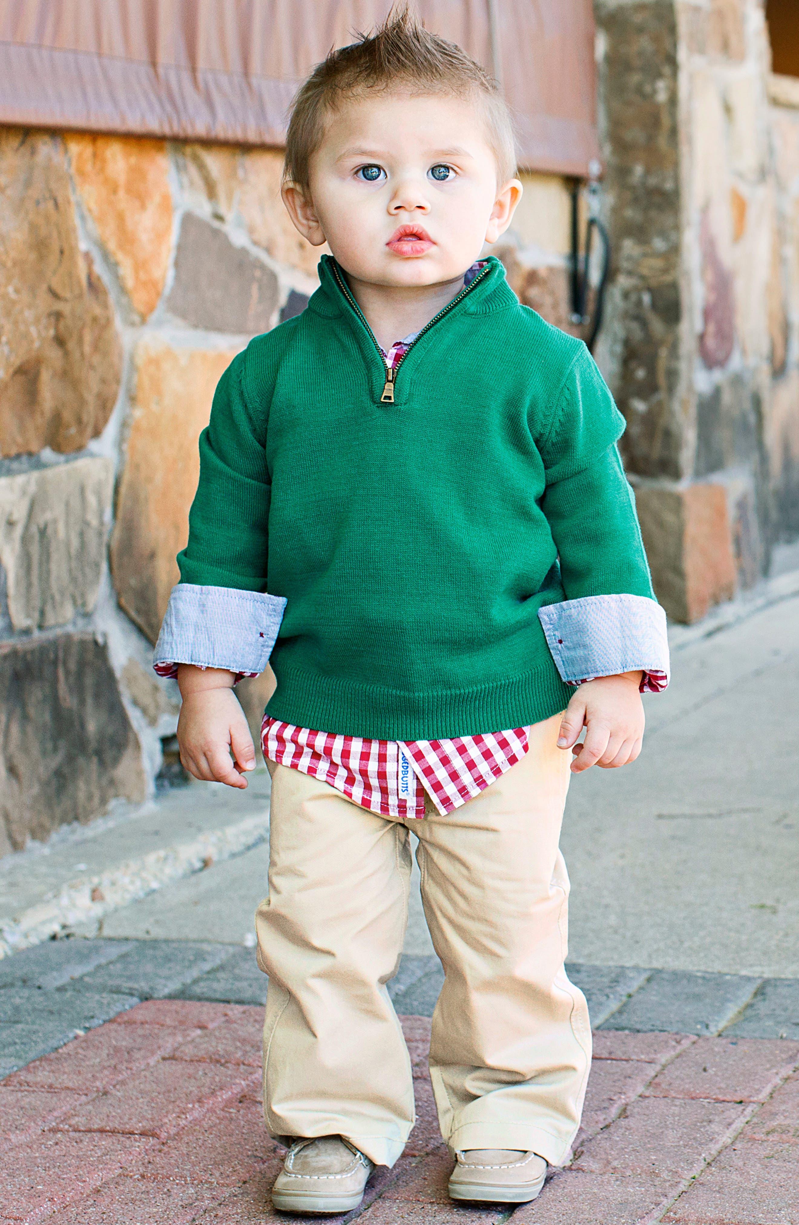 RUGGEDBUTTS, Gingham Shirt & Pullover Sweater Set, Alternate thumbnail 5, color, 300