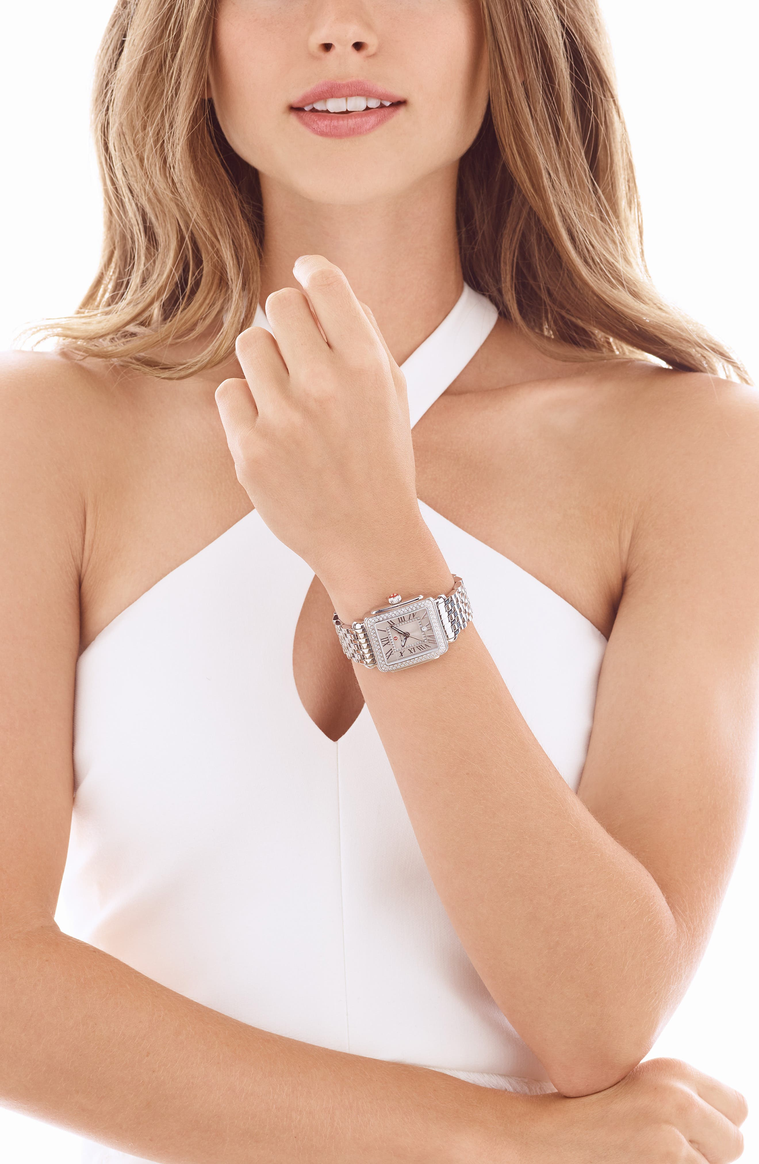 MICHELE, Deco Madison Mid Diamond Dial Watch Head, 29mm x 31mm, Alternate thumbnail 2, color, SILVER/ CASHMERE