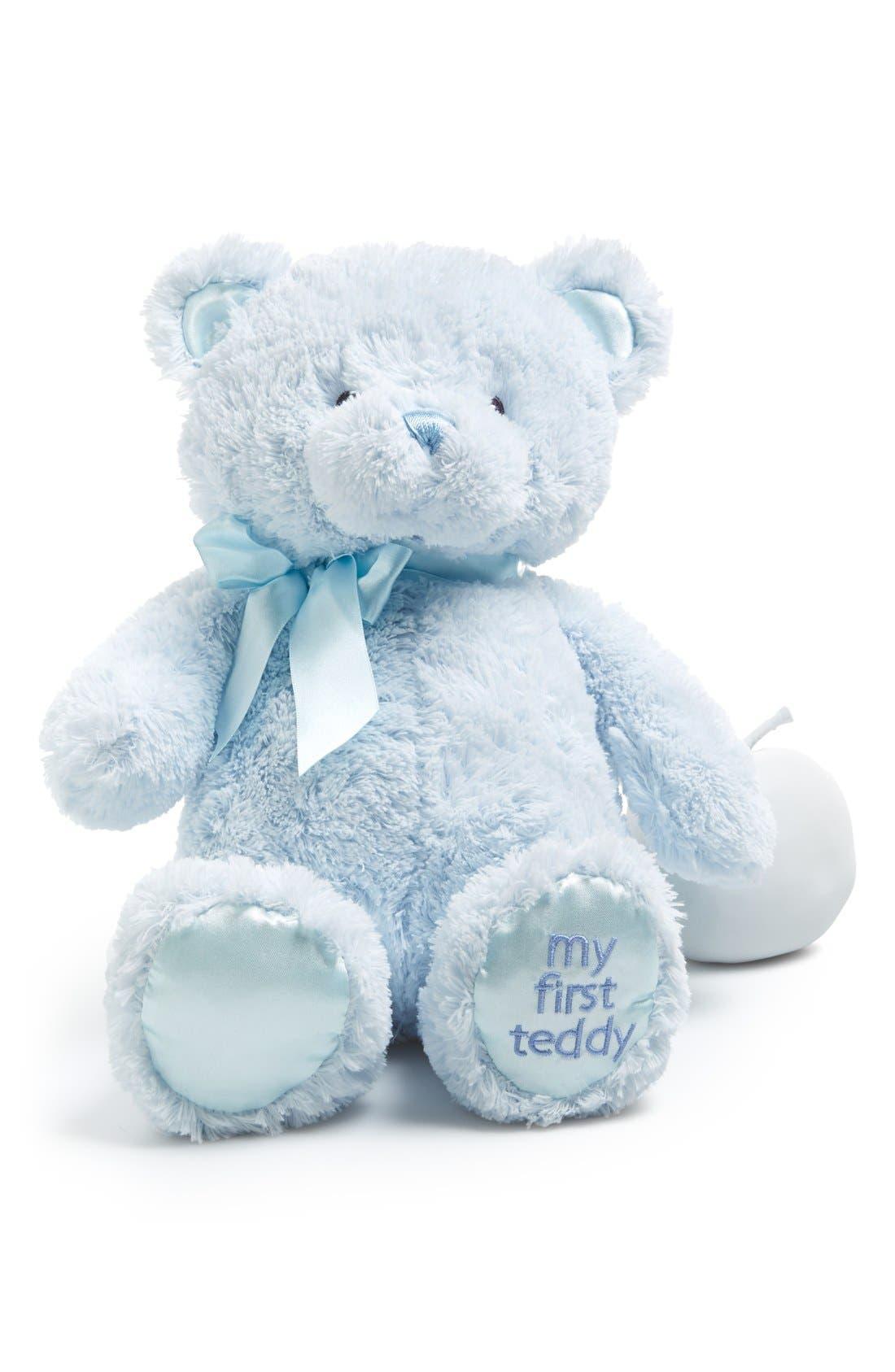GUND, Baby Gund 'My First Teddy' Stuffed Bear, Main thumbnail 1, color, BLUE