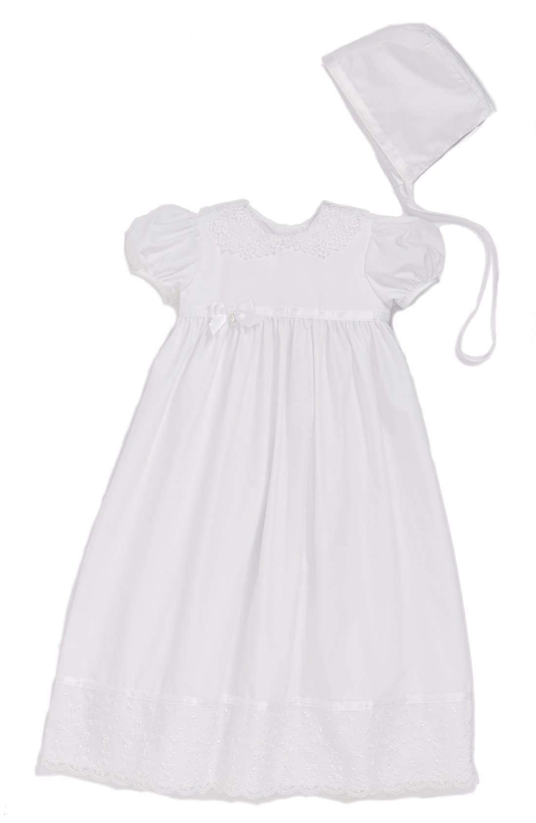 LITTLE THINGS MEAN A LOT, Lace Collar Christening Gown and Bonnet Set, Main thumbnail 1, color, WHITE