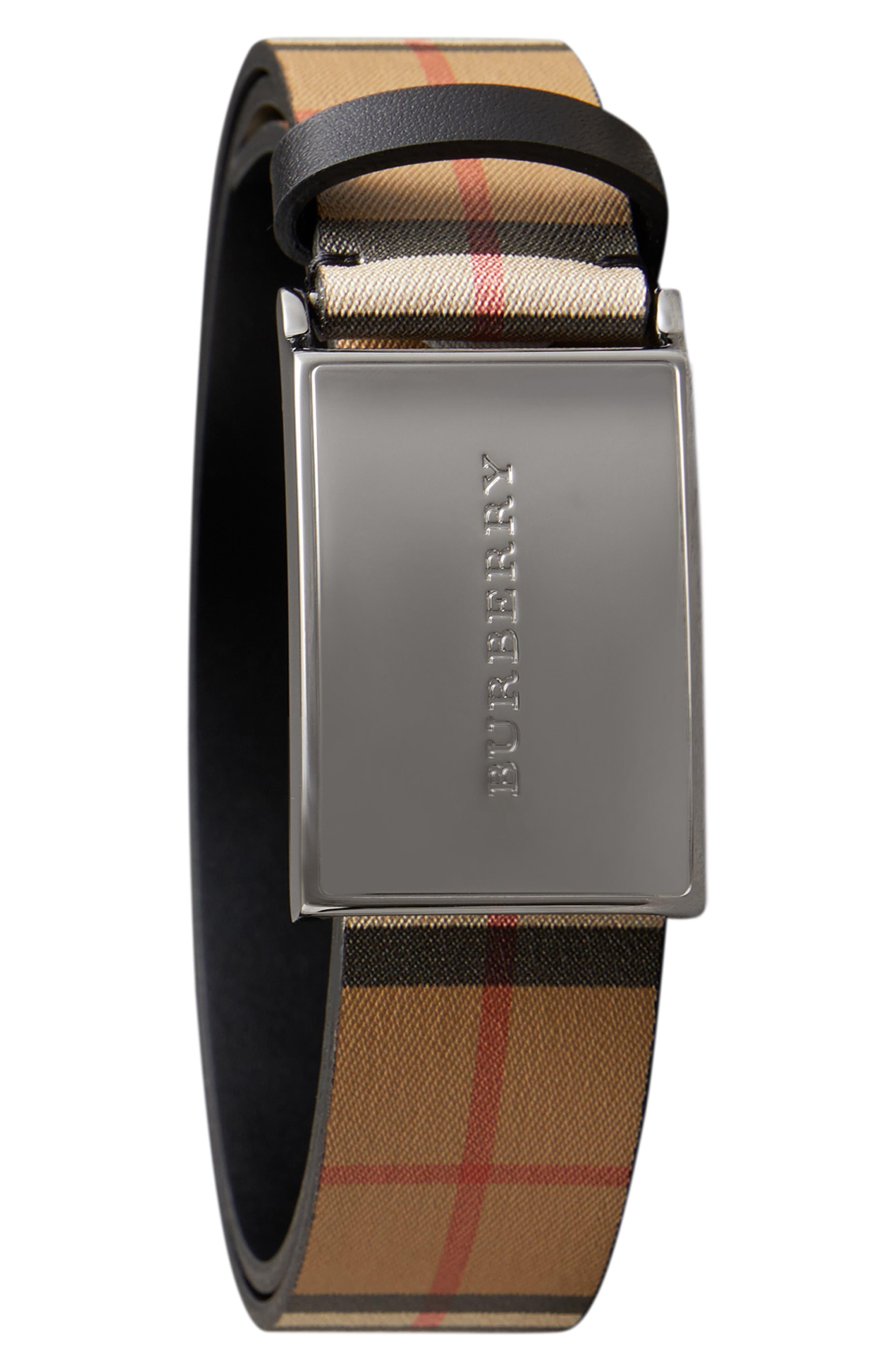 BURBERRY Charles Check Belt, Main, color, BLACK