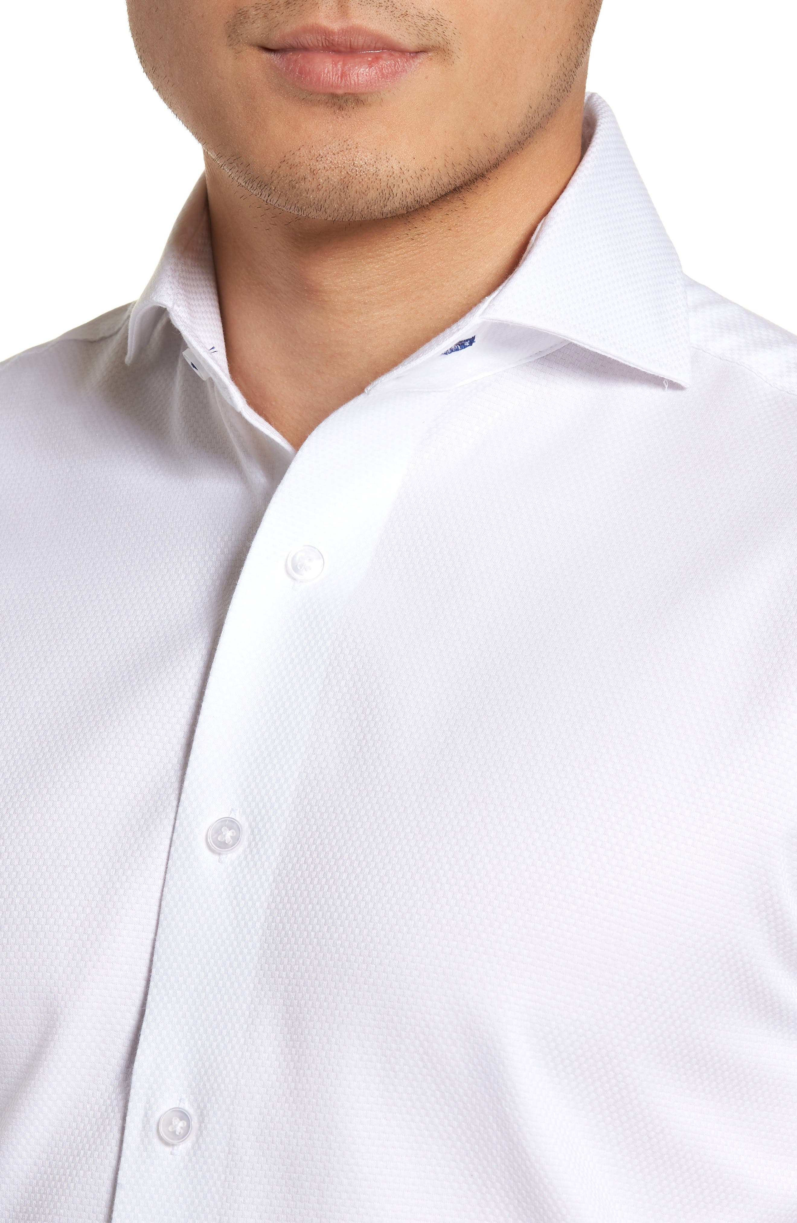 LORENZO UOMO, Trim Fit Basket Weave Dress Shirt, Alternate thumbnail 2, color, WHITE