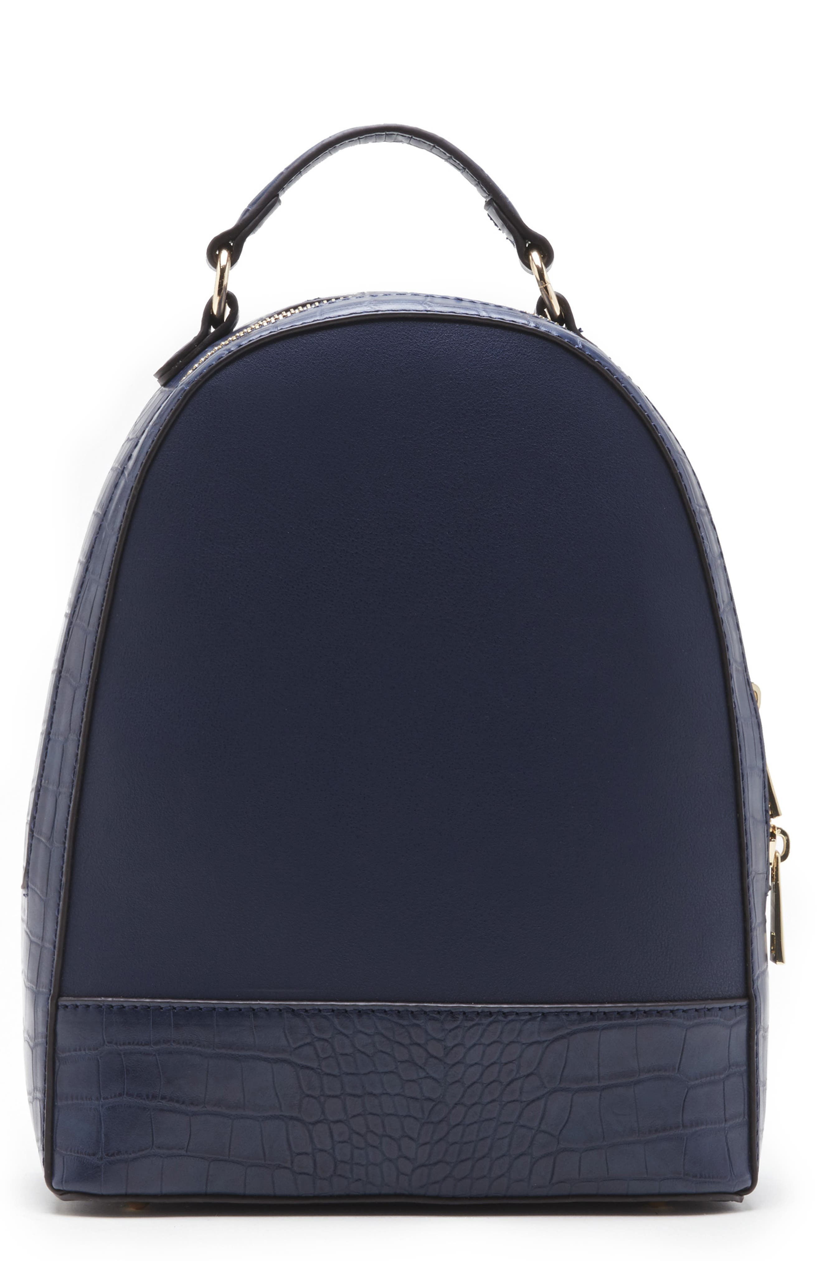 SOLE SOCIETY, Jamya Croc Embossed Faux Leather Backpack, Main thumbnail 1, color, MIDNIGHT
