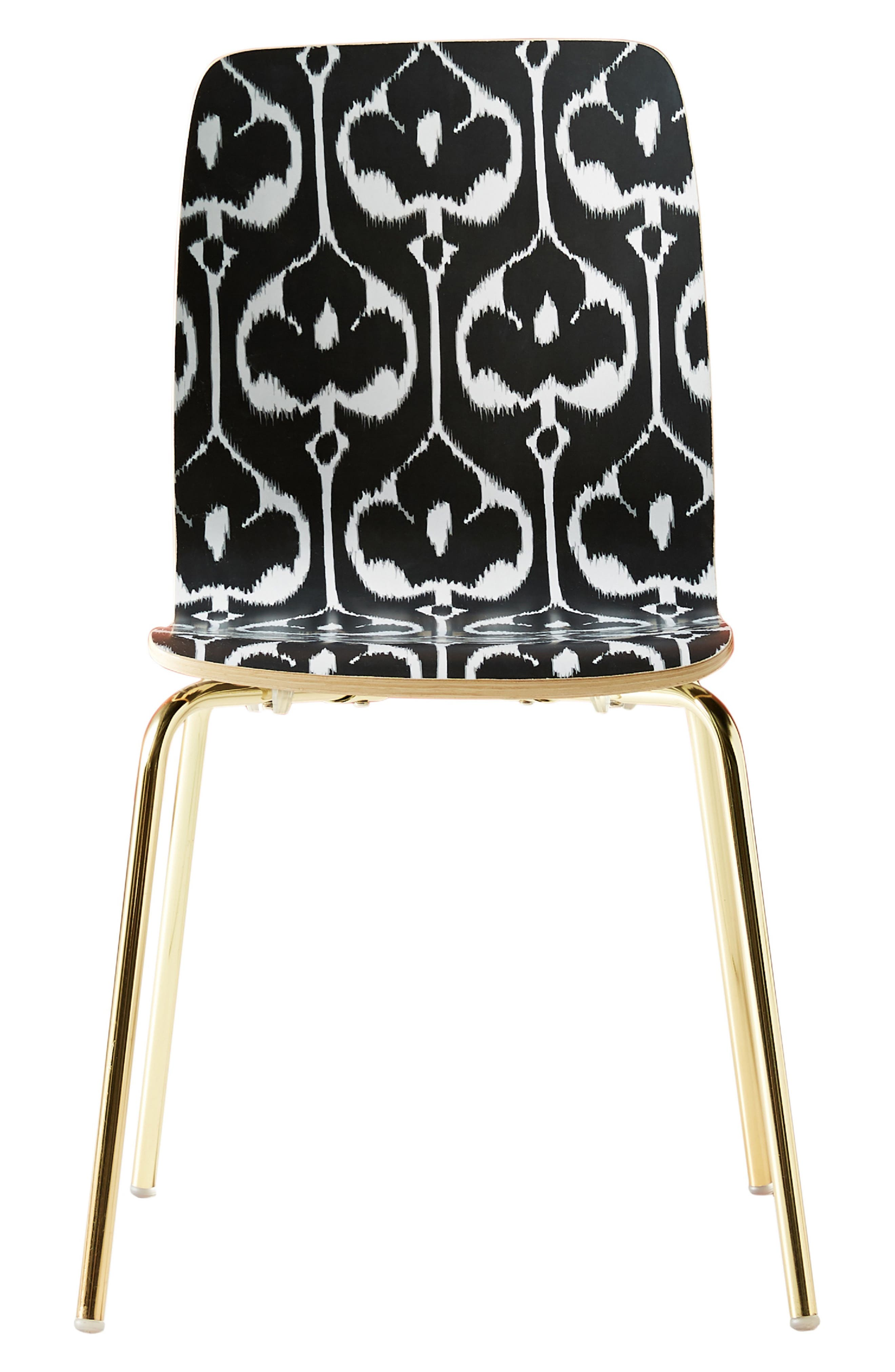 ANTHROPOLOGIE, Ikat Tamsin Dining Chair, Alternate thumbnail 6, color, BLACK AND WHITE