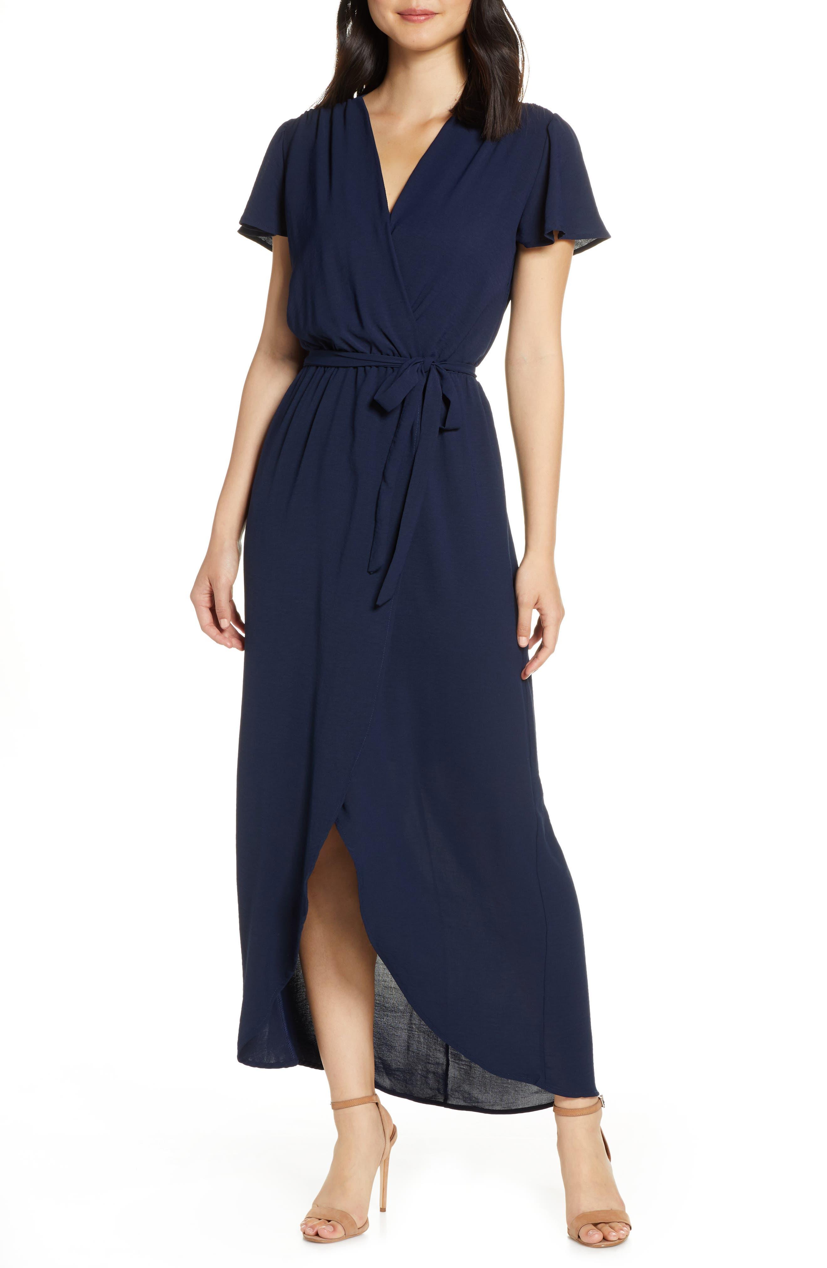 Fraiche By J High/low Wrap Dress, Blue