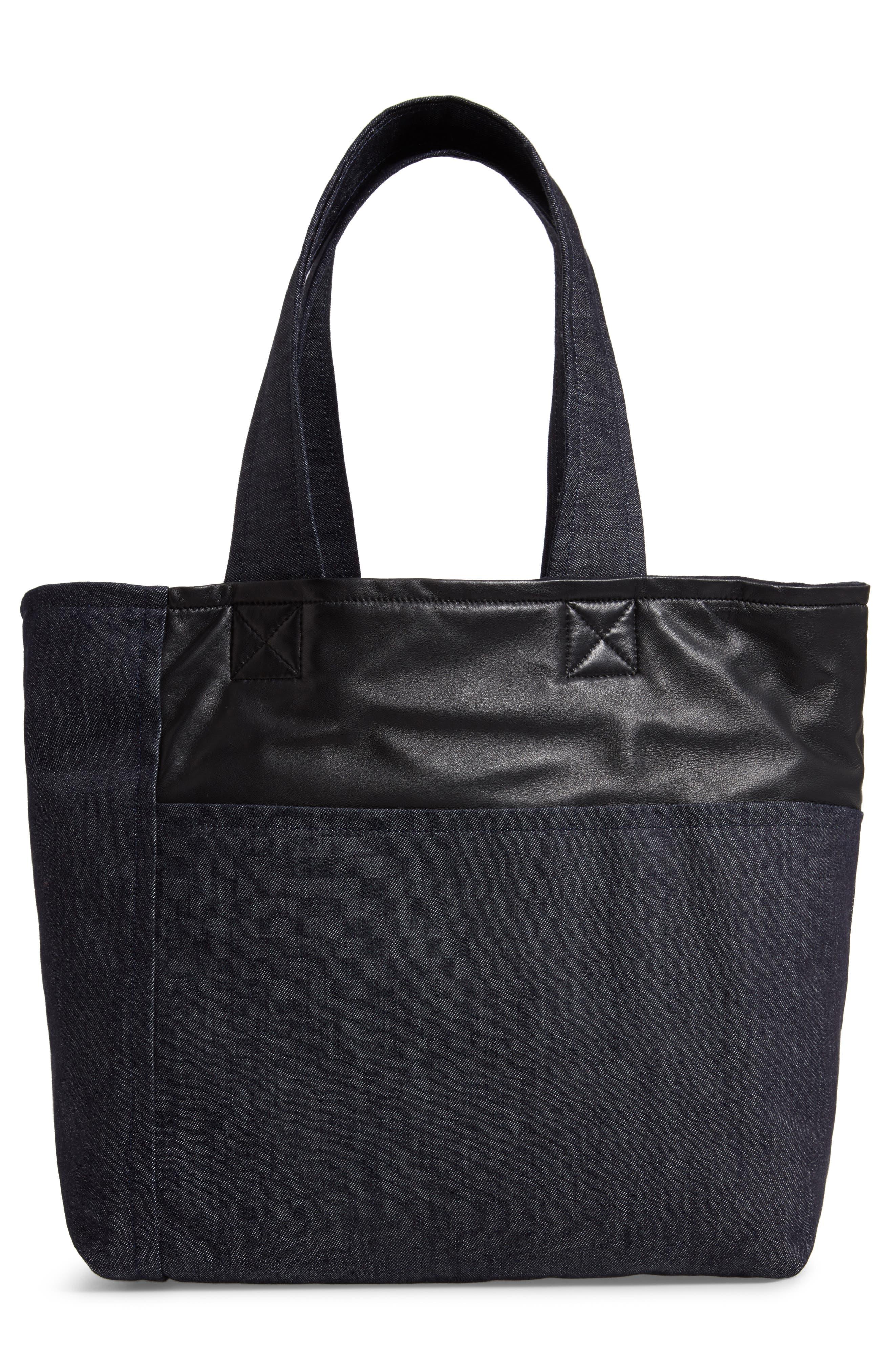 VICTORIA BECKHAM, Sunday Denim & Leather Tote Bag, Alternate thumbnail 3, color, 400