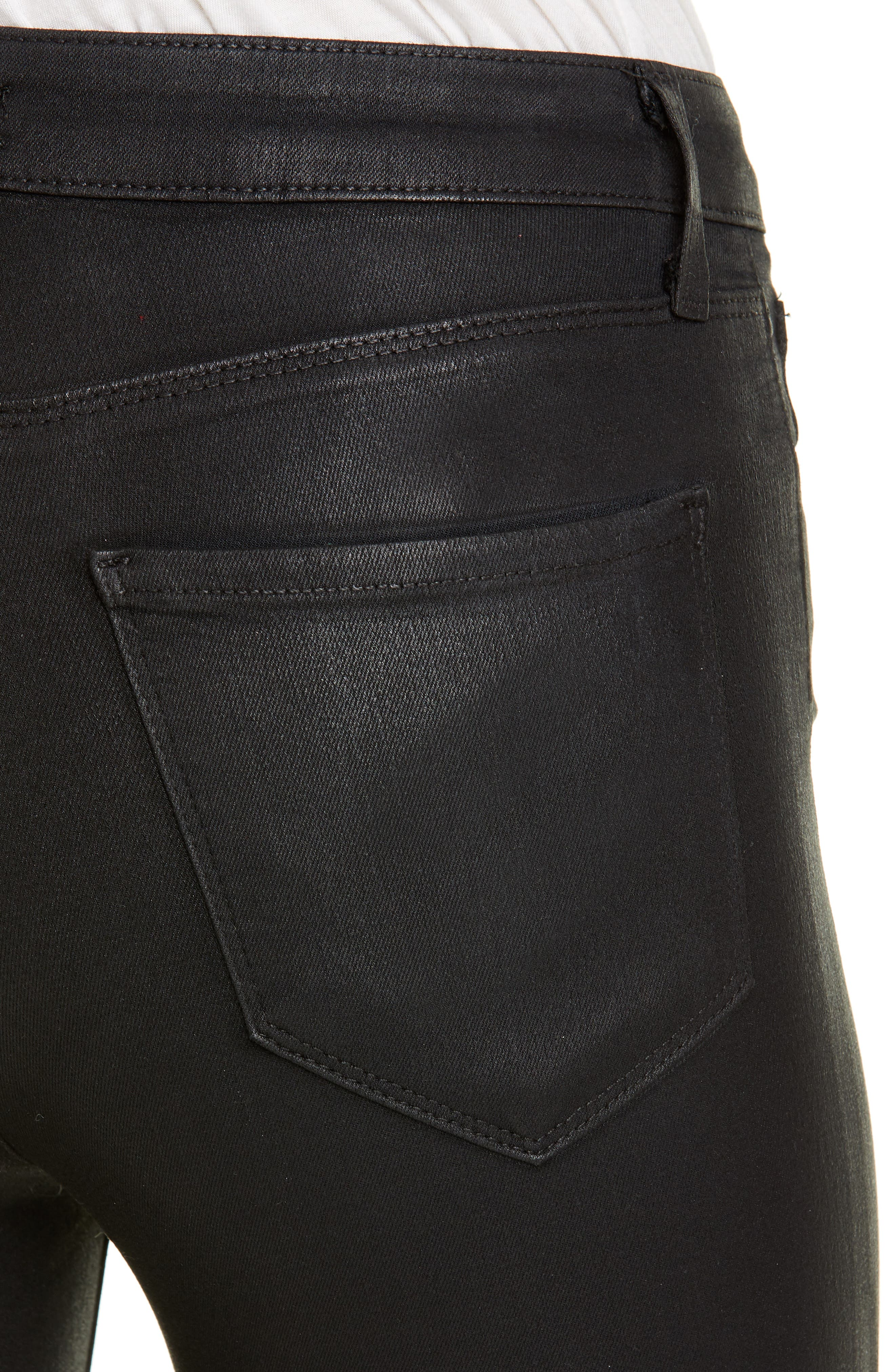 L'AGENCE, Coated High Waist Skinny Jeans, Alternate thumbnail 4, color, BLACK COATED