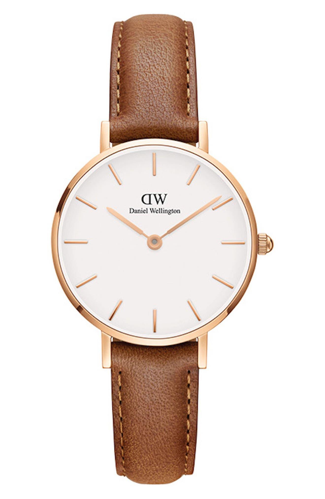 DANIEL WELLINGTON, Classic Petite Leather Strap Watch, 28mm, Main thumbnail 1, color, LIGHT BROWN/ WHITE/ ROSE GOLD
