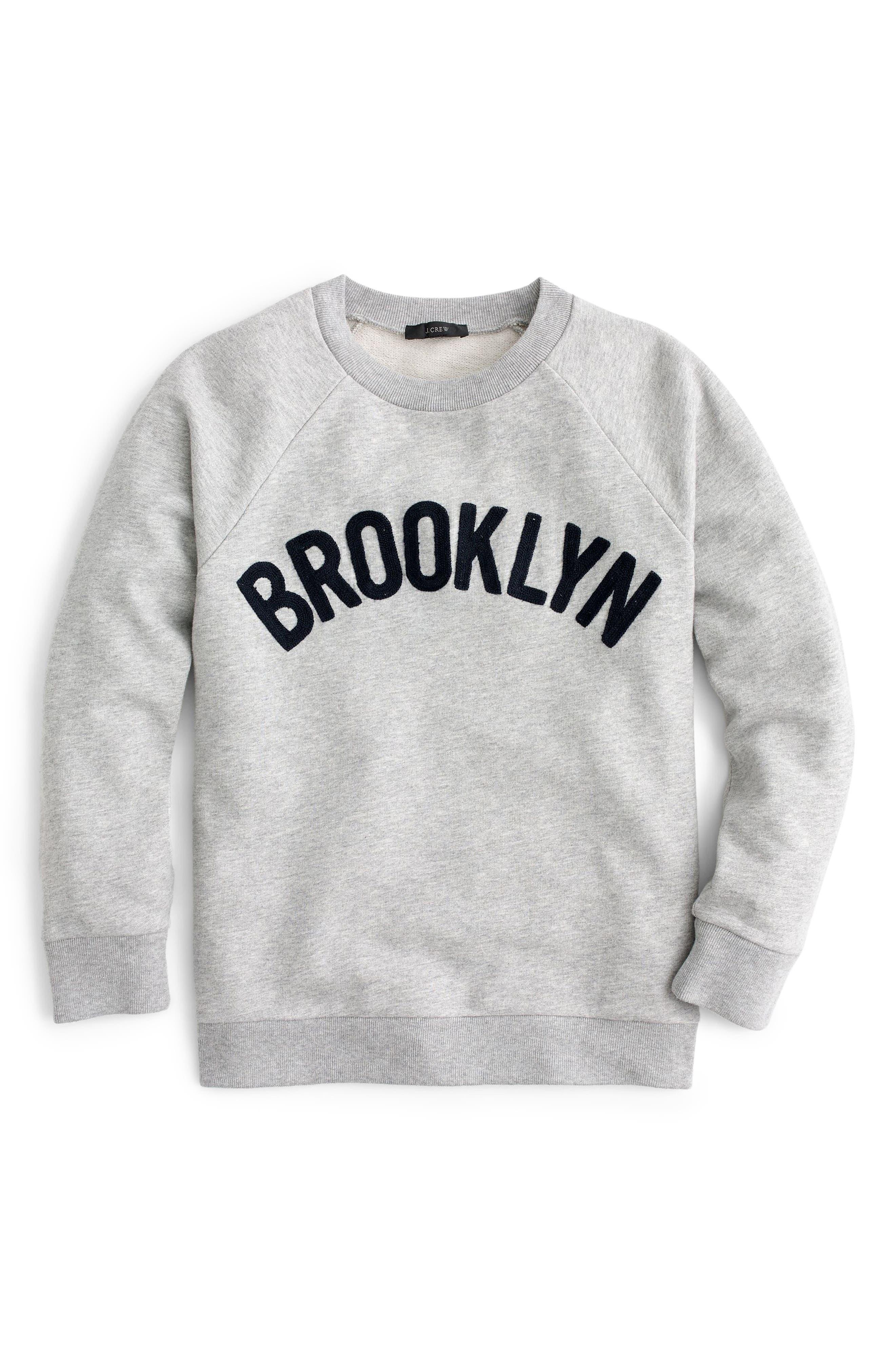J.CREW, Brooklyn Sweatshirt, Alternate thumbnail 2, color, HEATHER GREY