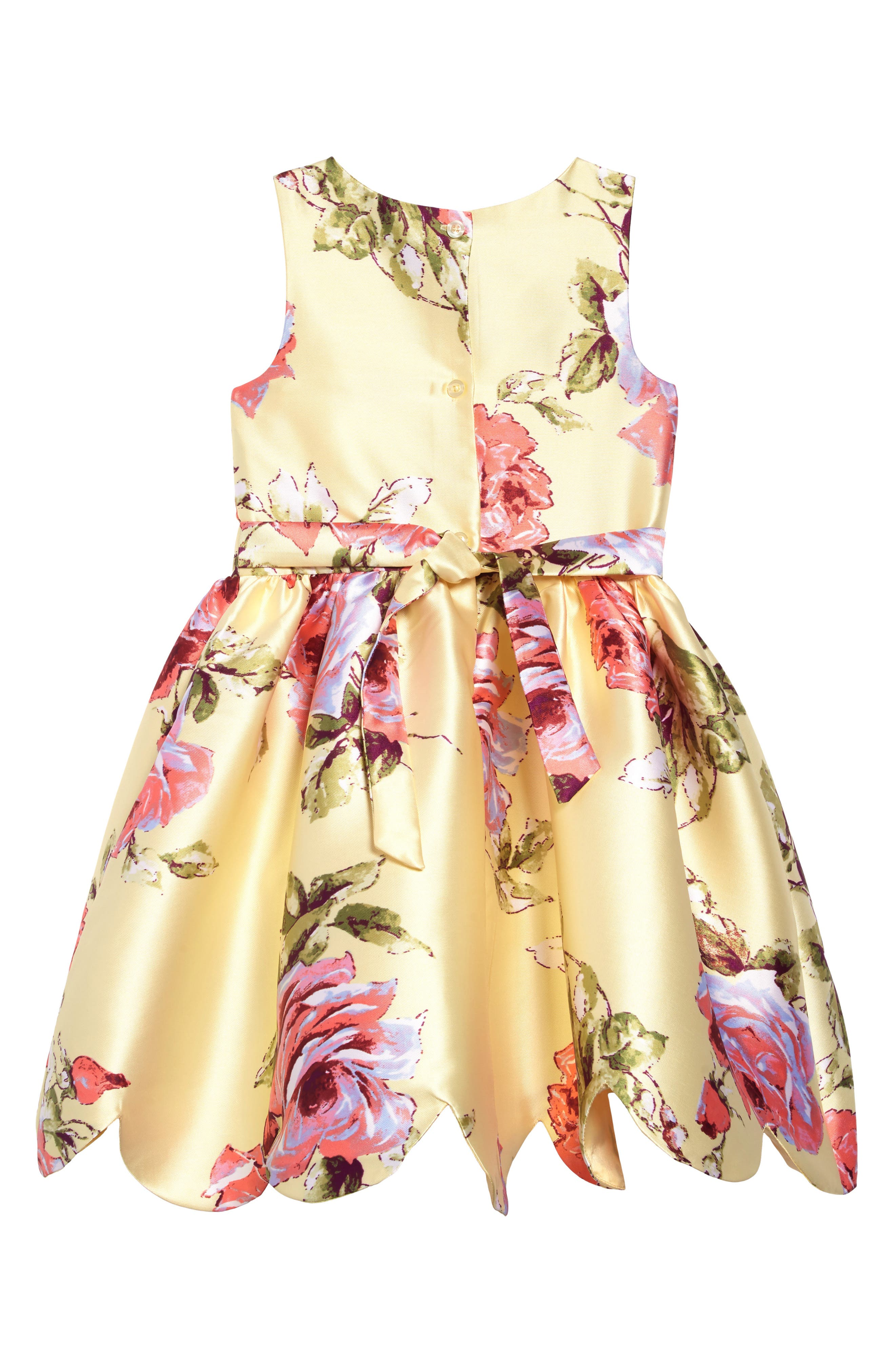 ZUNIE, Floral Print Scalloped Hem Dress, Alternate thumbnail 2, color, YELLOW FLORAL