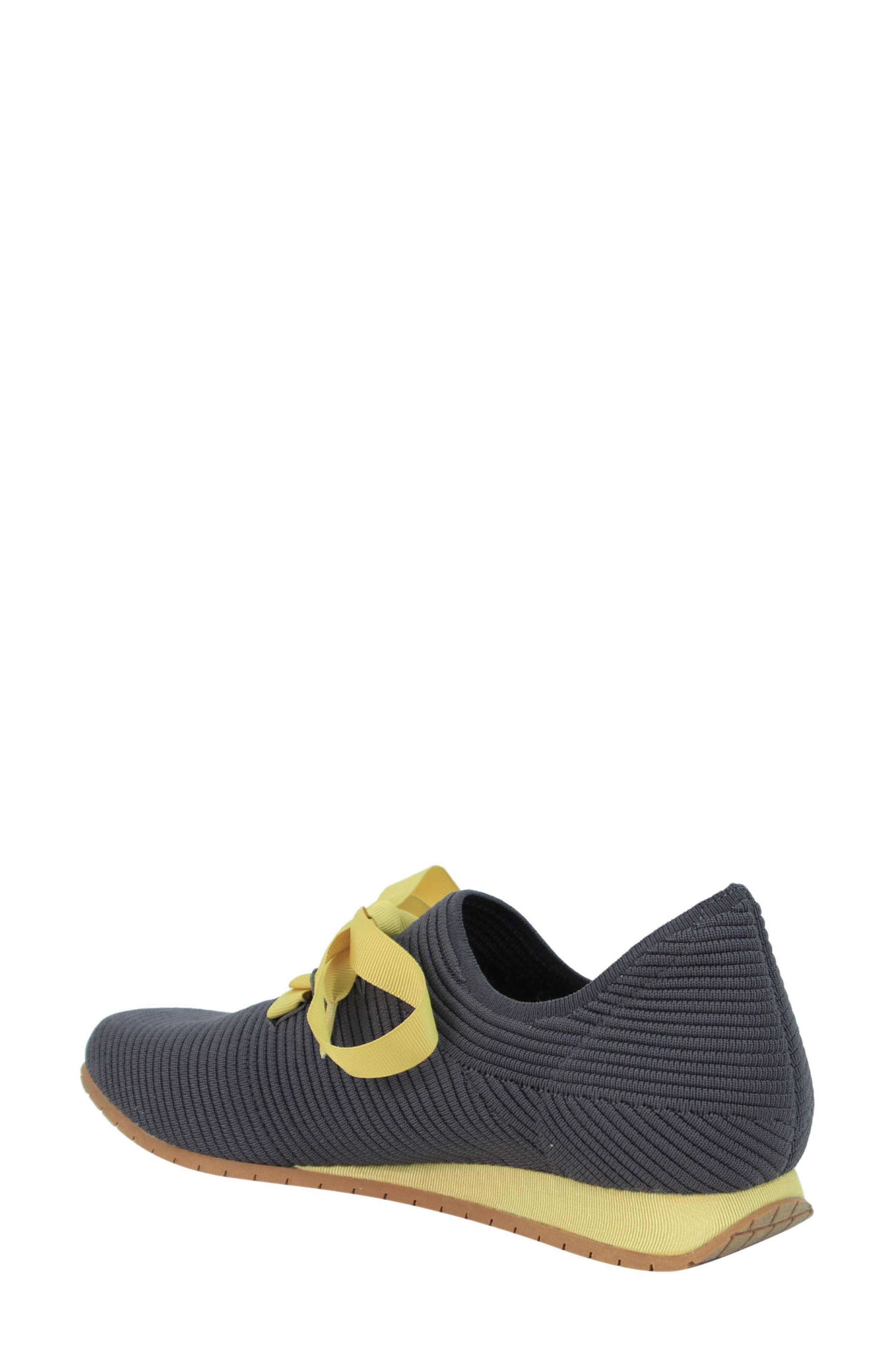 L'AMOUR DES PIEDS, Taimah Sneaker, Alternate thumbnail 2, color, DARK GREY/ YELLOW FABRIC
