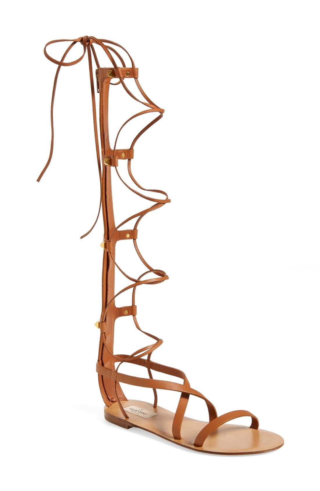 VALENTINO GARAVANI, 'Rockstud' Tall Gladiator Sandal, Main thumbnail 1, color, 200