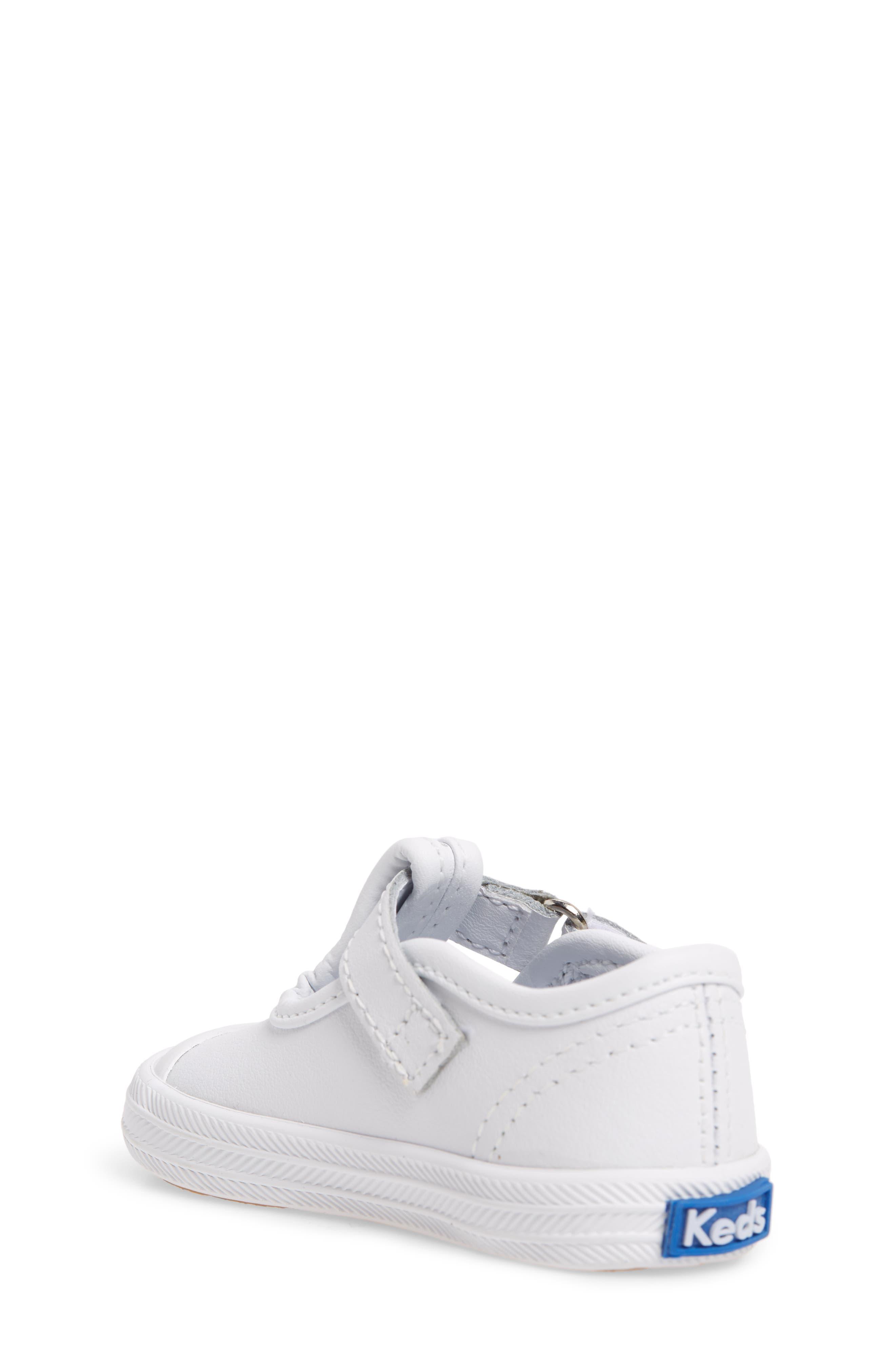KEDS<SUP>®</SUP>, 'Champion' T-Strap Shoe, Alternate thumbnail 2, color, WHITE LEATHER