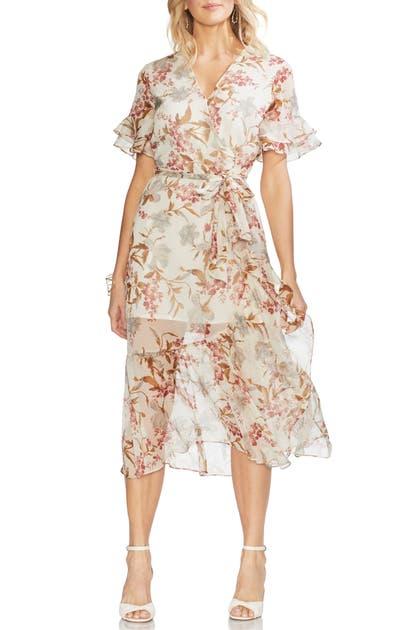 Vince Camuto Dresses WILDFLOWER TIERED RUFFLE CHIFFON DRESS
