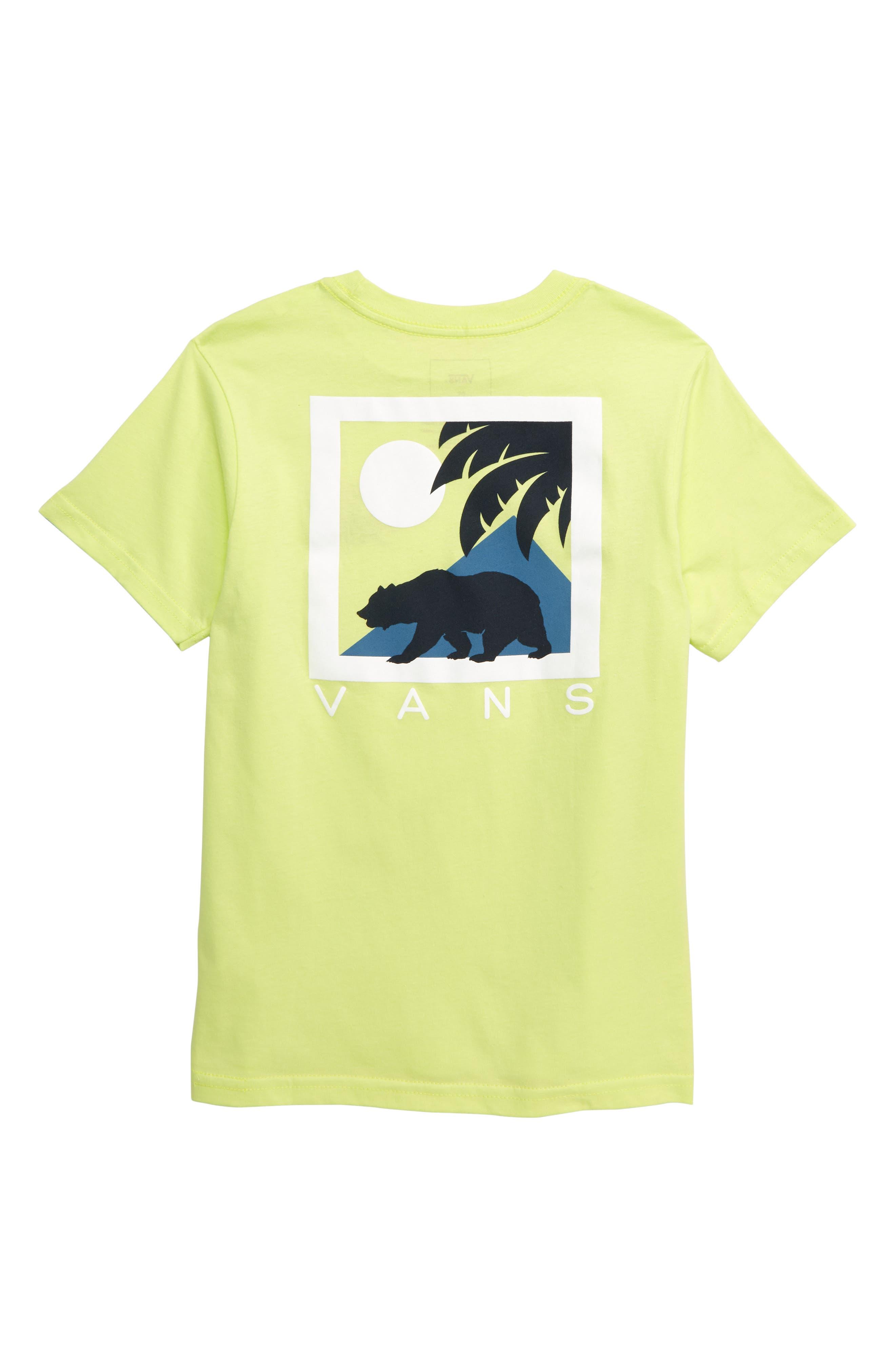 VANS, Cali Winter Graphic T-Shirt, Alternate thumbnail 2, color, SUNNY LIME